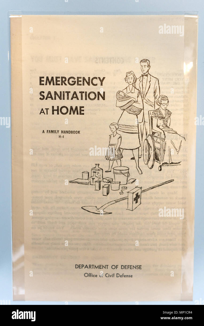 A booklet from the Cold War describing Emergency Home Sanitation in case of nuclear attack - Stock Image