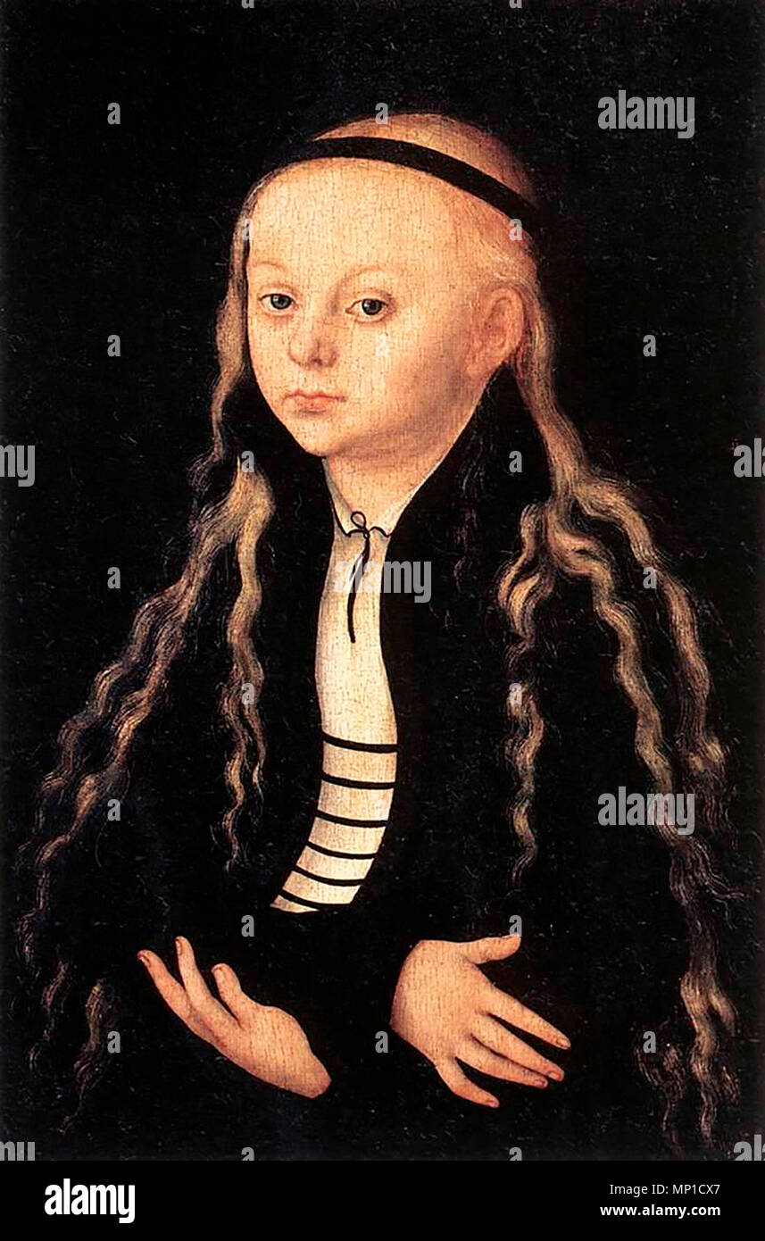 A painting of a young girl, later identified as Magdalena Luther, daughter of Martin Luther - Stock Image