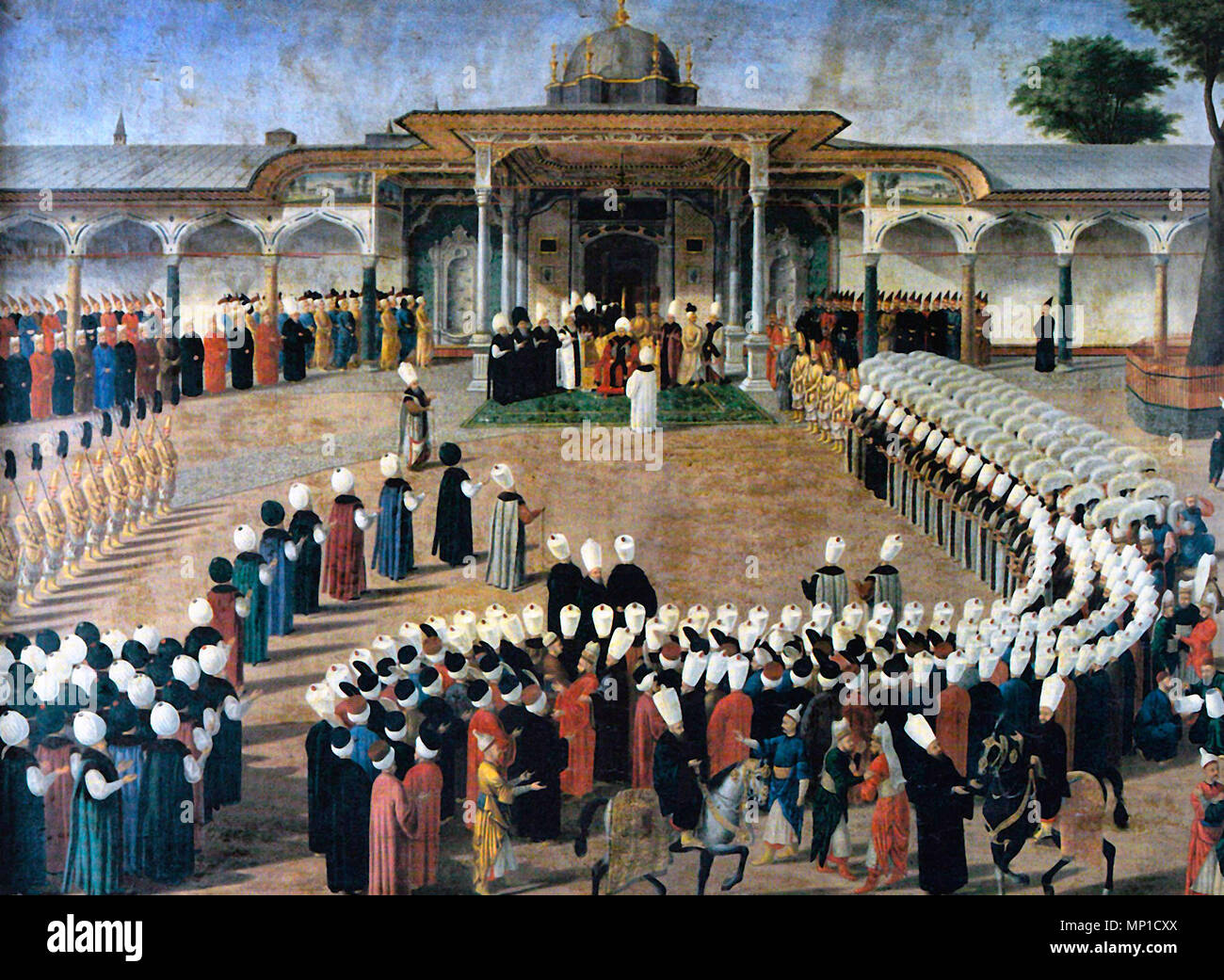 Sultan Selim III holding an audience in front of the Gate of Felicity. Courtiers are assembled in a strict protocol. - Stock Image