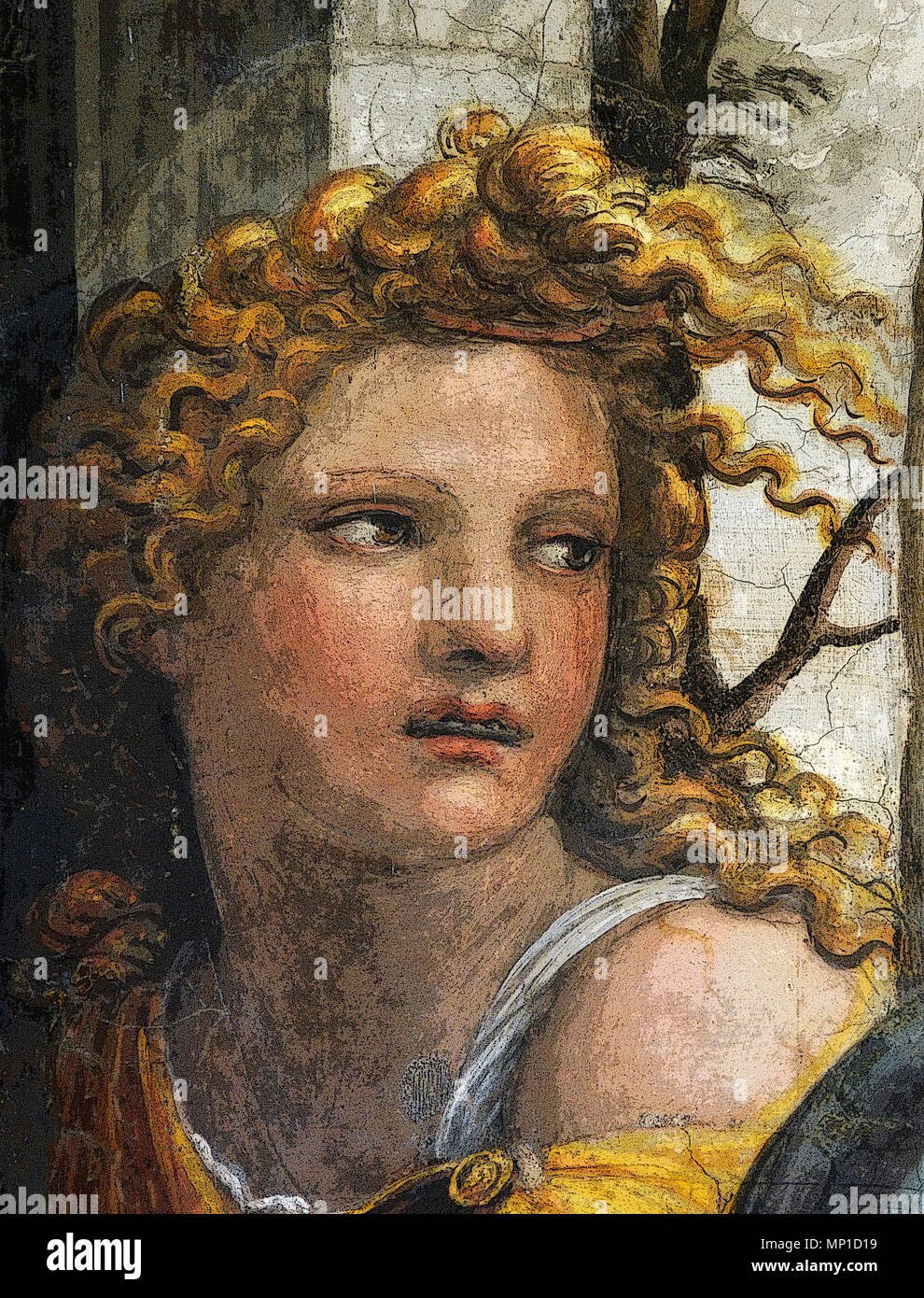 Marriage of Alexander the Great and Roxanne, face of one of the servant women (rendered in PS), by Sodoma, Villa Farnesina, Rome Stock Photo