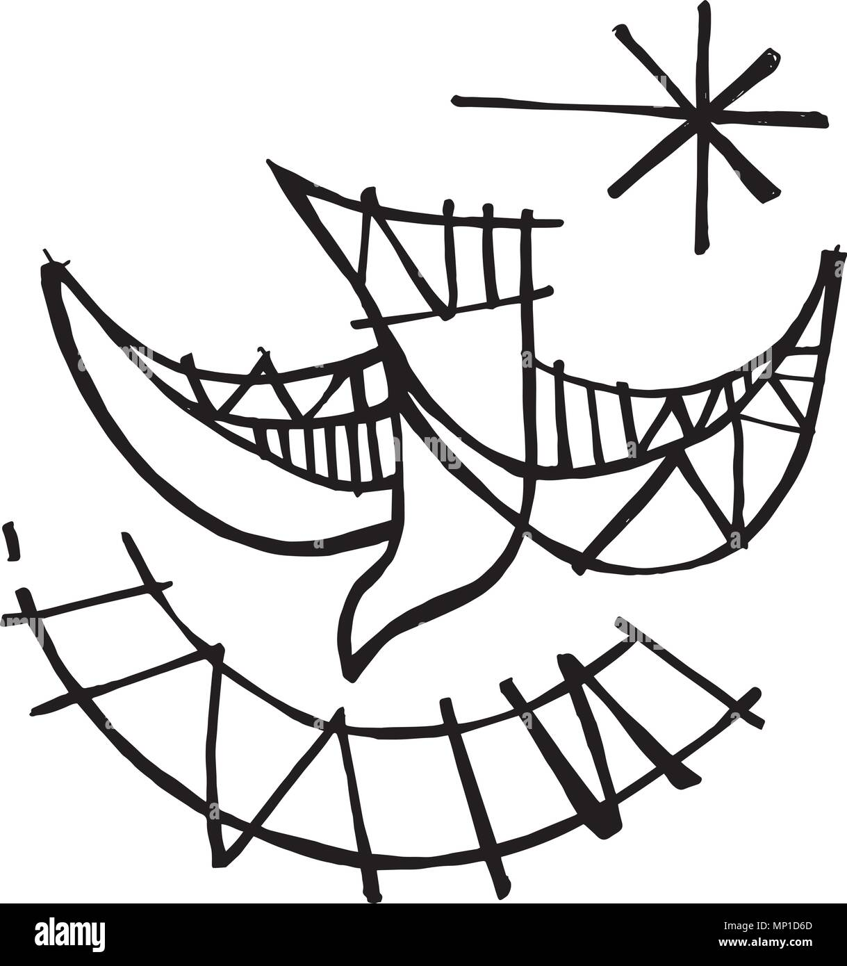 Hand Drawn Illustration Or Drawing Of A Christian Symbol Of The Holy