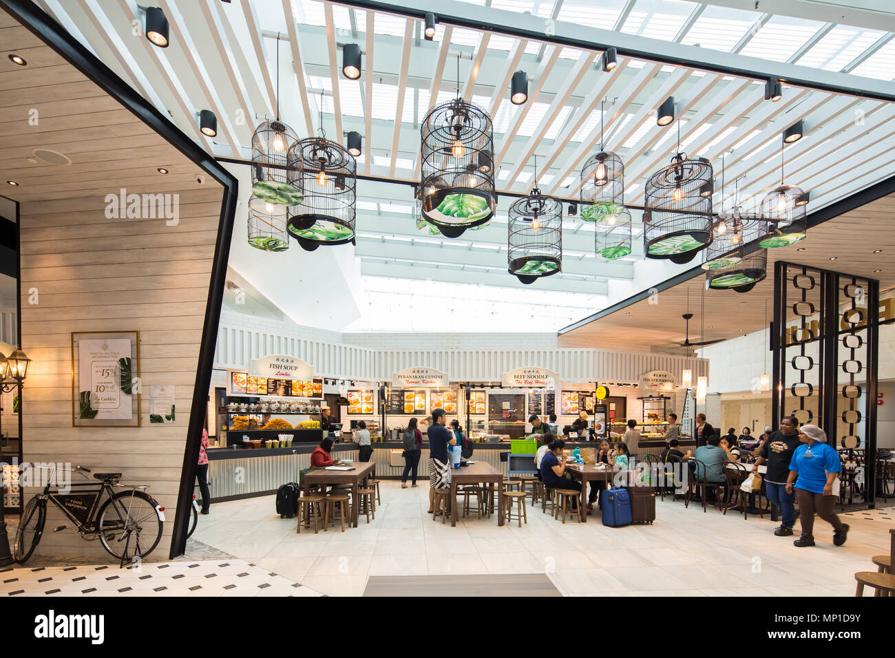 Interior design of Food Emporium or commonly know as food court or dinning area at Singapore Changi Airport terminal 4 - Stock Image