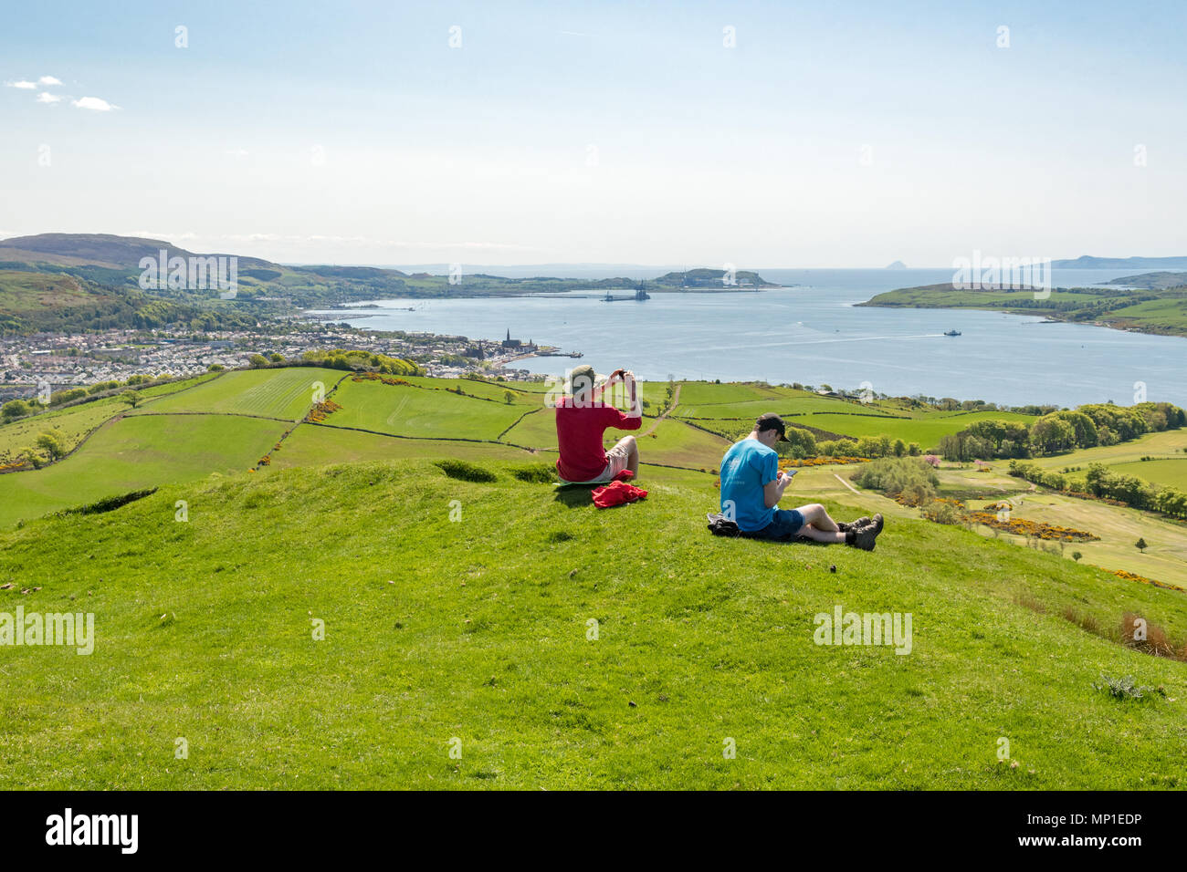 view of Largs and the Firth of Clyde in spring from the top of Knock Hill, Largs, North Ayrshire, Scotland, UK - Stock Image