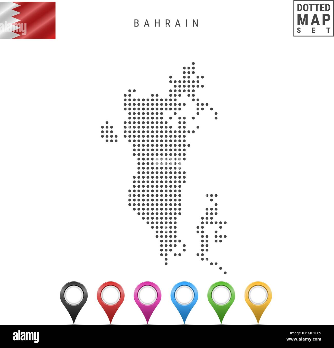 Vector Dotted Map of Bahrain. Simple Silhouette of Bahrain. National Flag of Bahrain. Set of Multicolored Map Markers - Stock Vector