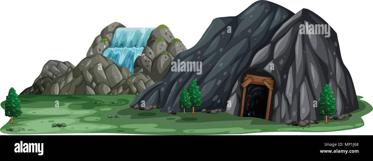 A Mining Cave On White Background Illustration Stock Vector Image Art Alamy