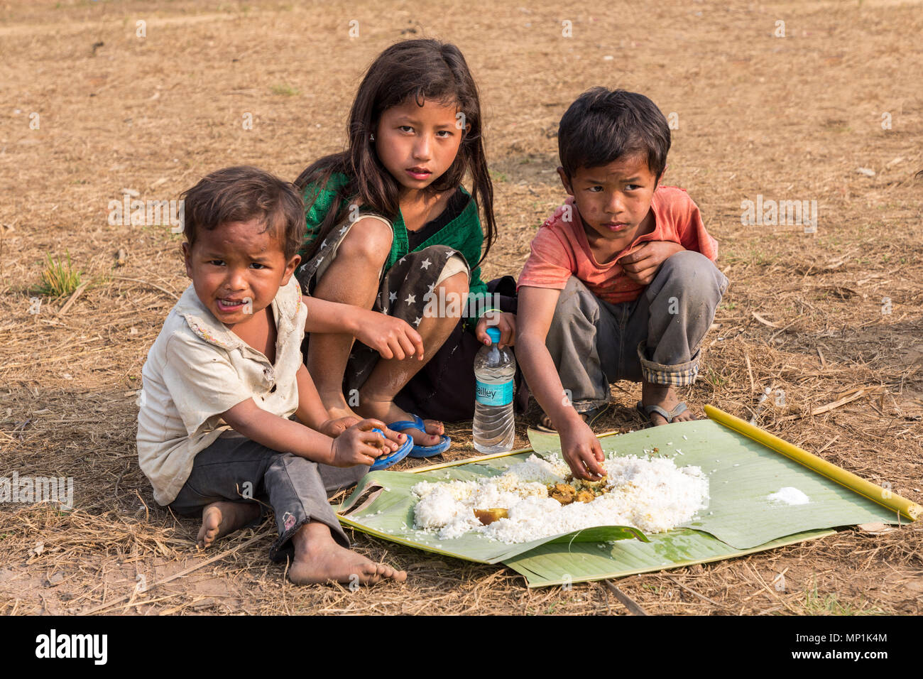 Children eating communal meal on the ground, Sakwa, Meghalaya, India - Stock Image