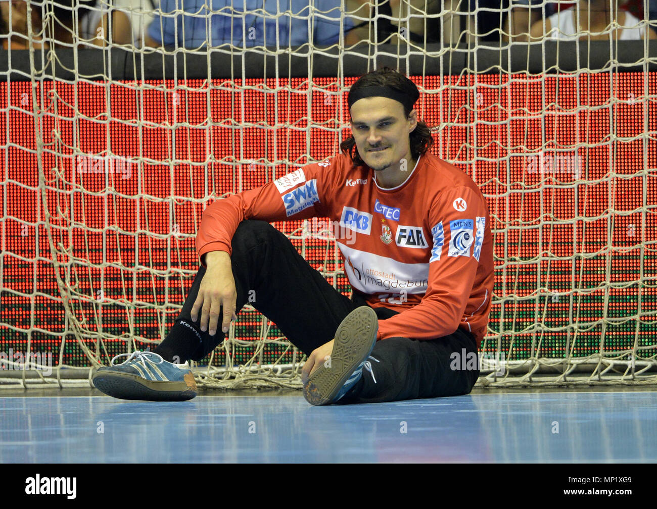 20 May 2018, Germany, Magdeburg: Handball, EHF Cup, Final Four, match for 3rd place, SC Magdeburg vs Frisch Auf Goeppingen at the GETEC Arena: Magdeburg goalie Jannick Green Krejberg. Photo: Jan Kuppert/dpa Credit: dpa picture alliance/Alamy Live News - Stock Image