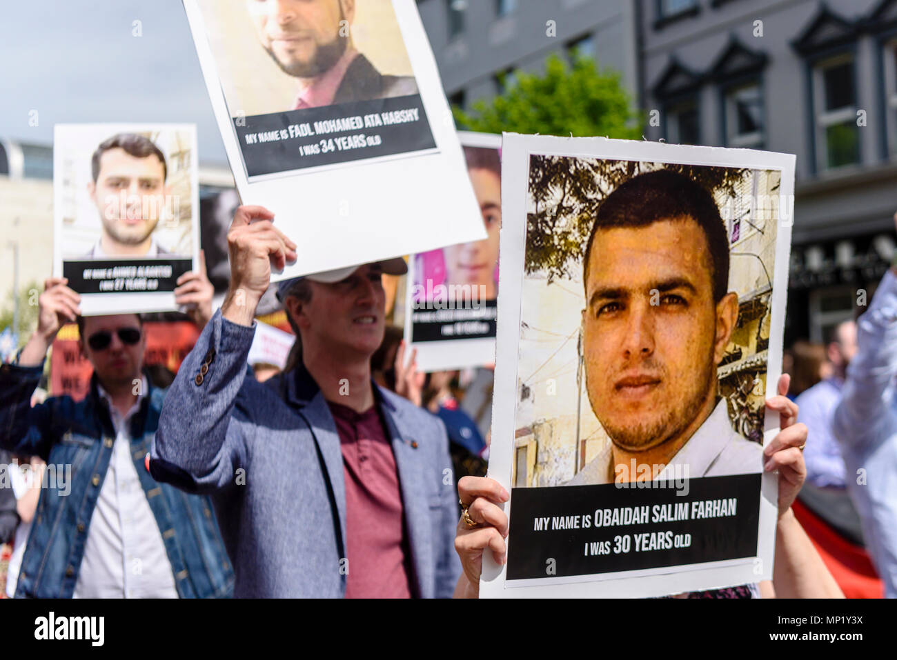 Belfast, Northern Ireland, 19/05/2018 - Ireland Palestine Solidarity Campaign hold a protest march against the killing of 53 unarmed Palestinians in Occupied Israel who were protesting againt President Trump's decision to move the American Embassy in Israel to Jerusalem. - Stock Image