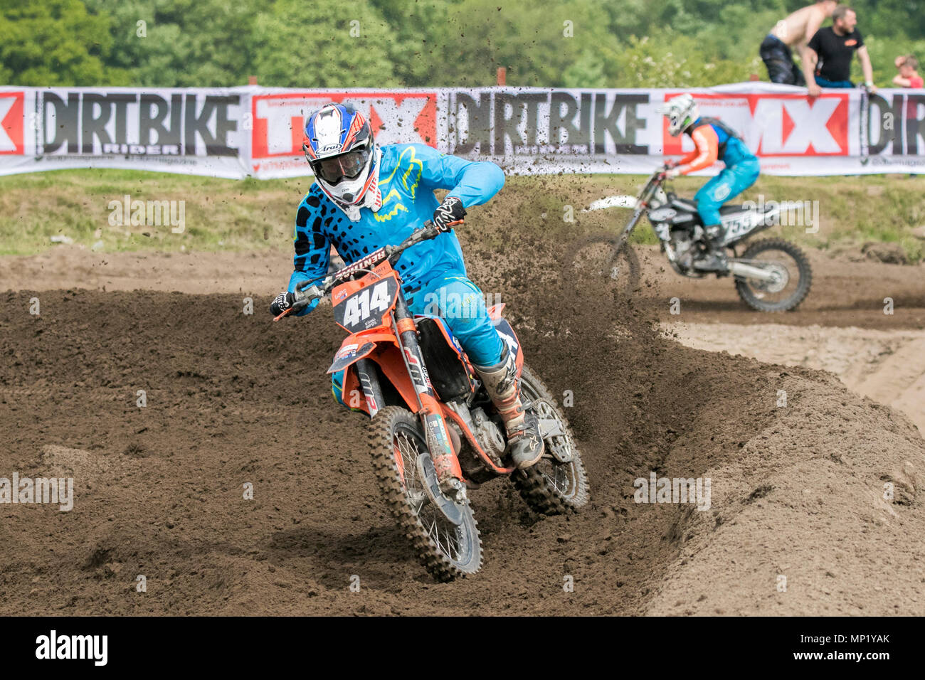 Preston Docks, Lancashire. 20th May 2018.  The cream of British Motocross talent will be taking to the circuit at Preston Docks in Lancashire for the Michelin MX Nationals. The 'Nationals' offers a whole weekend of racing with 26 races over two days, and classes catering for SW/BW 85, MXY1 and 2, MX1 and MX2 Clubman right through to the Pro MX1 and MX2 'Fastest 40'; the stage is set for an action-packed programme of British championship racing at the very top of its game.  Credit: Cernan Elias/Alamy Live News - Stock Image