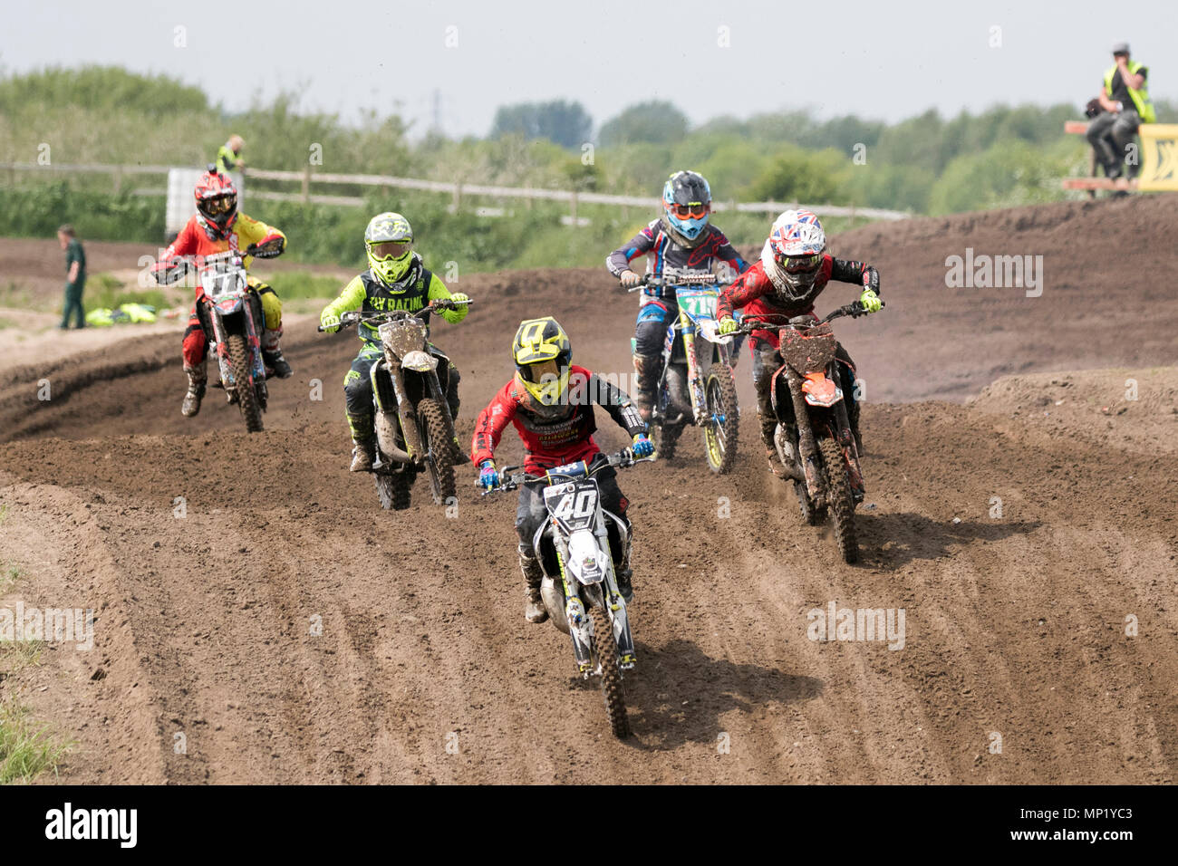 Preston Docks, Lancashire. 20th May 2018.  The cream of British Motocross talent will be taking to the circuit at Preston Docks in Lancashire for the Michelin MX Nationals. The 'Nationals' offers a whole weekend of racing with 26 races over two days, and classes catering for SW/BW 85, MXY1 and 2, MX1 and MX2 Clubman right through to the Pro MX1 and MX2 'Fastest 40'; the stage is set for an action-packed programme of British championship racing at the very top of its game.  Credit: Cernan Elias/Alamy Live News Stock Photo