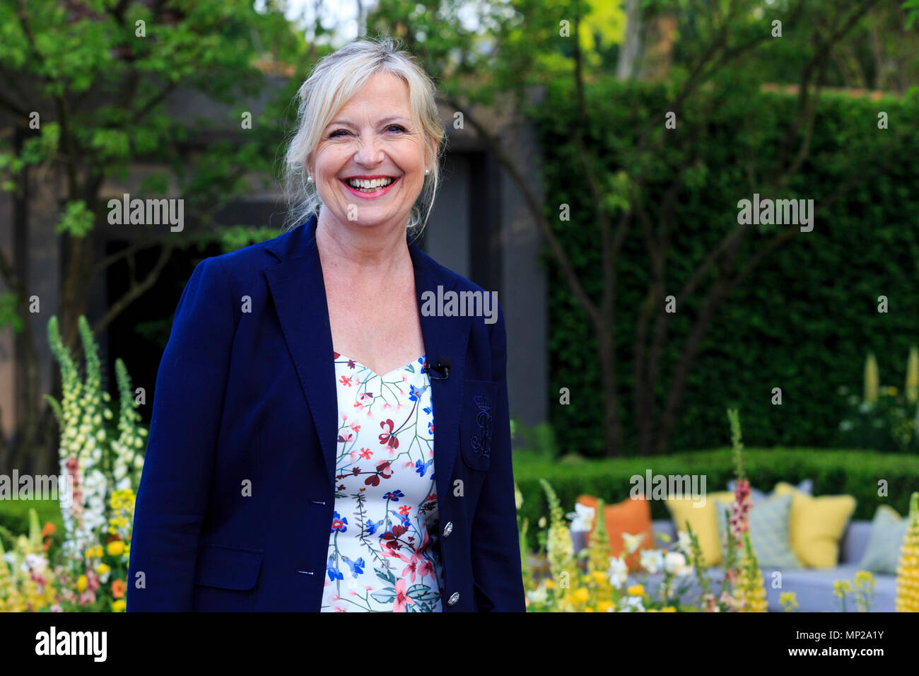 London, UK. 21 May 2018. BBC weather presenter Carol Kirkwood. Press Day at the 2018 RHS Chelsea Flower Show which opens to the public on tomorrow. Photo: Bettina Strenske/Alamy Live News - Stock Image