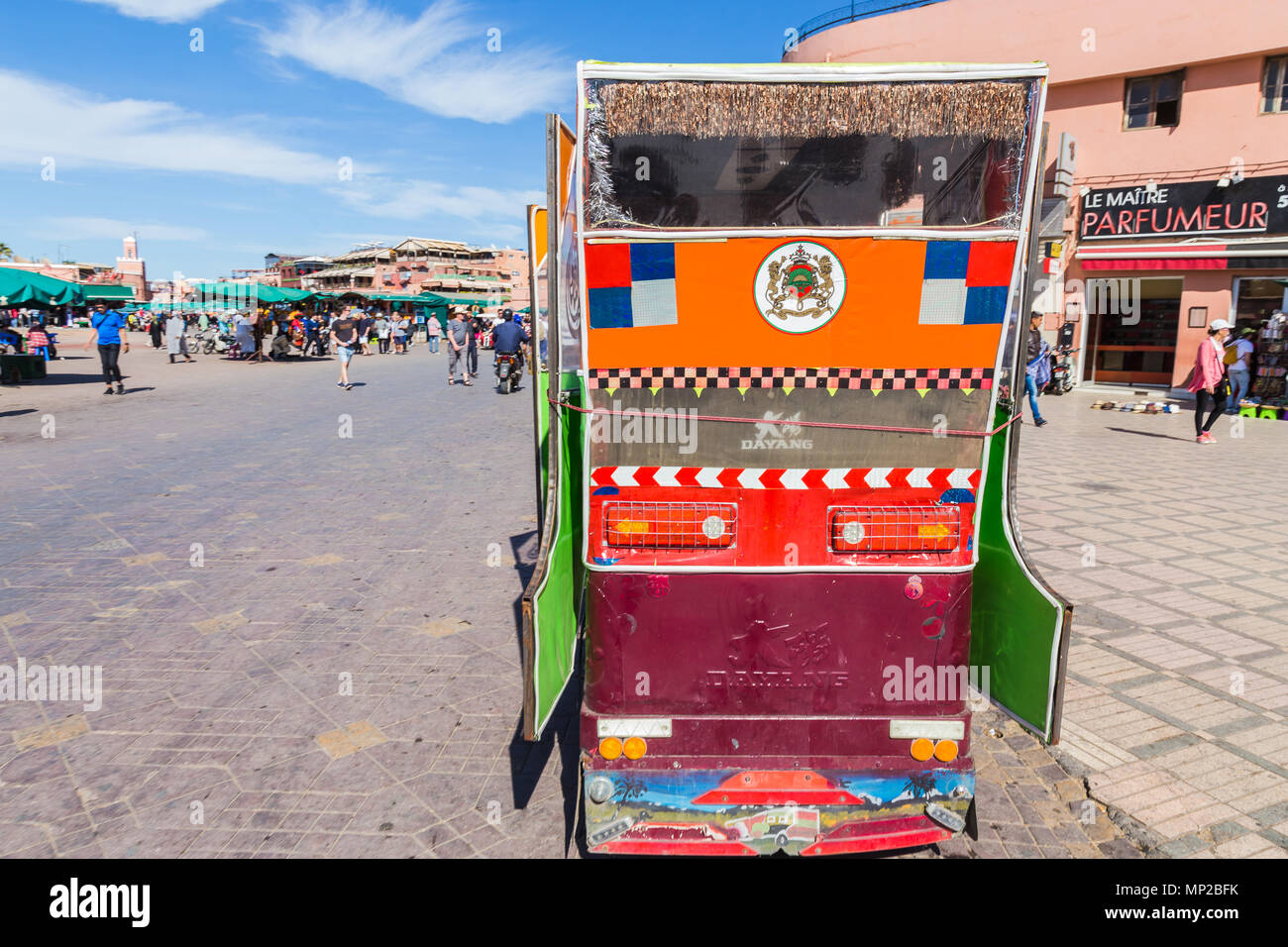 A medina taxi in Jamaa el fna square, Marrakech, Morocco. - Stock Image
