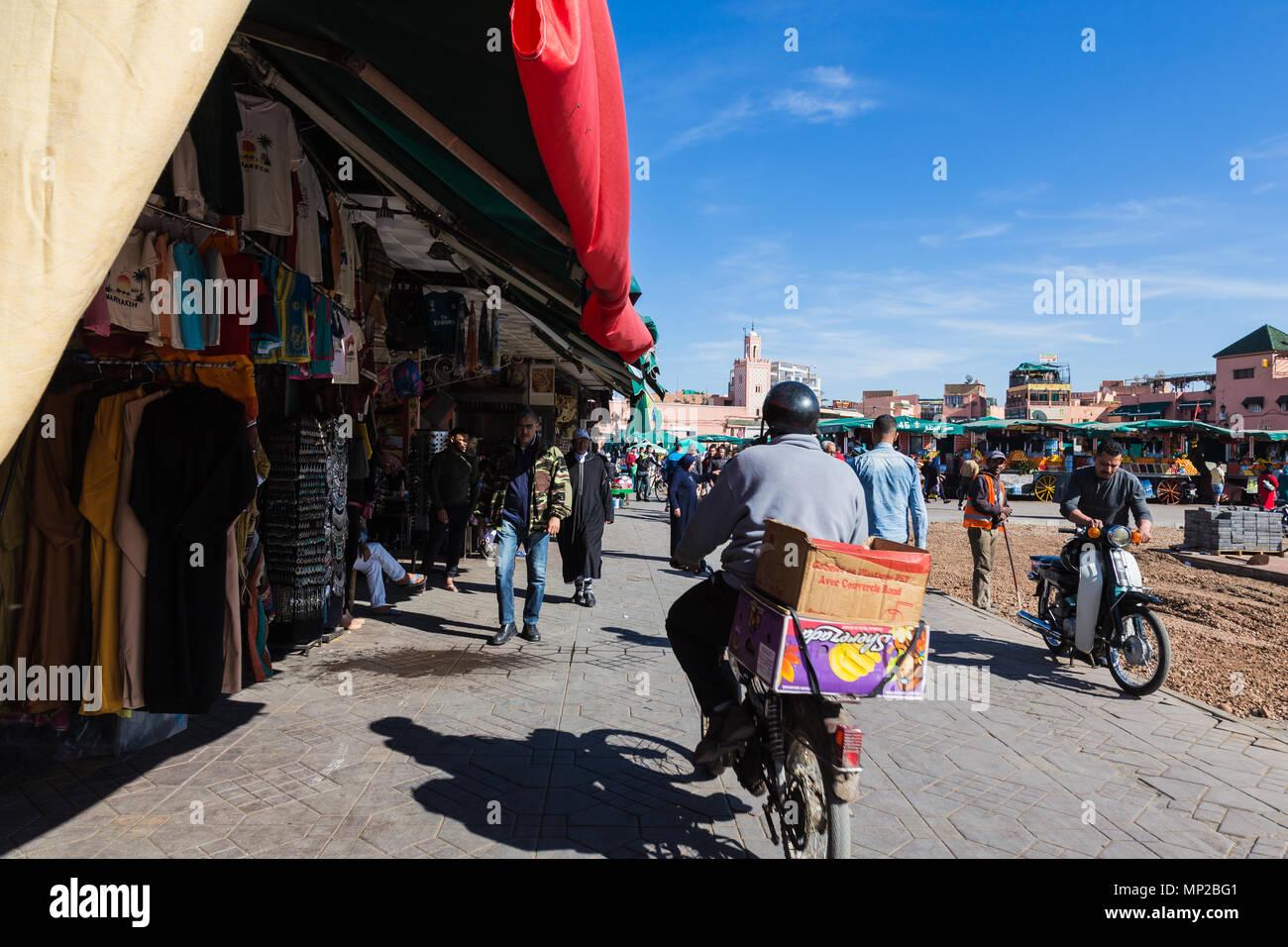 Jamaa el Fna Market square, Marrakech, Morocco. Stock Photo