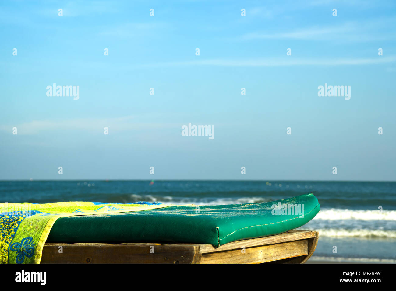 Sunbed on the beach - Stock Image