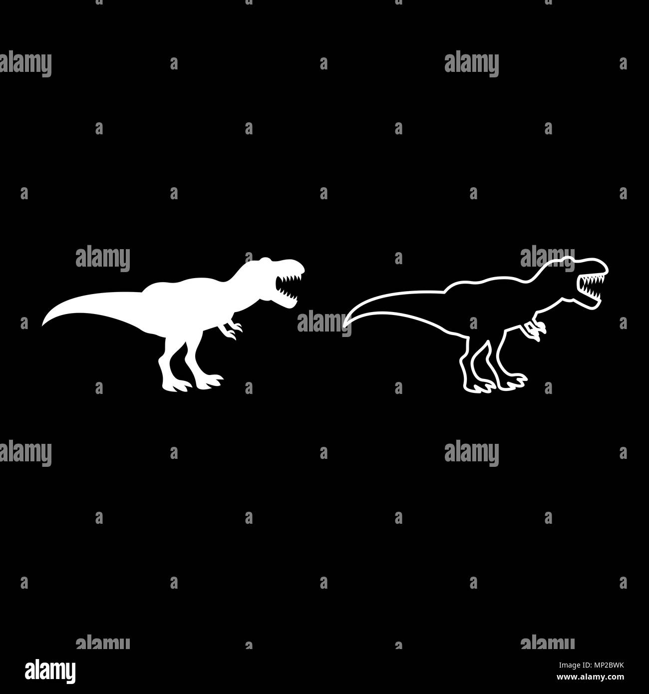 Dinosaur tyrannosaurus t rex icon set white color vector illustration flat style simple image outline - Stock Image