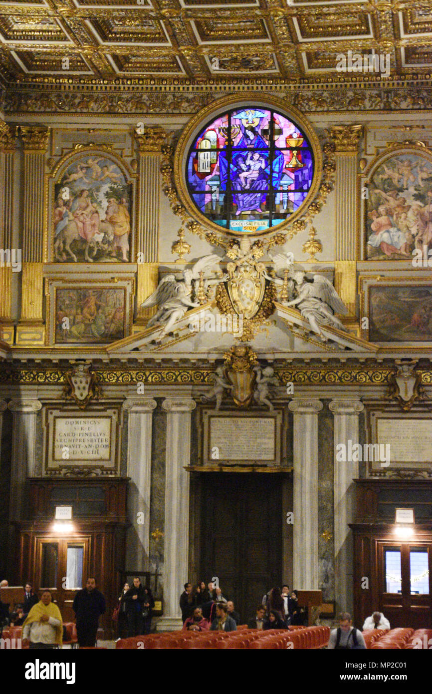 Stained Glass above the Holy Door in the Basilica of Santa Maria Maggiore (Papal Basilica of Saint Mary Major), Rome, Italy. - Stock Image