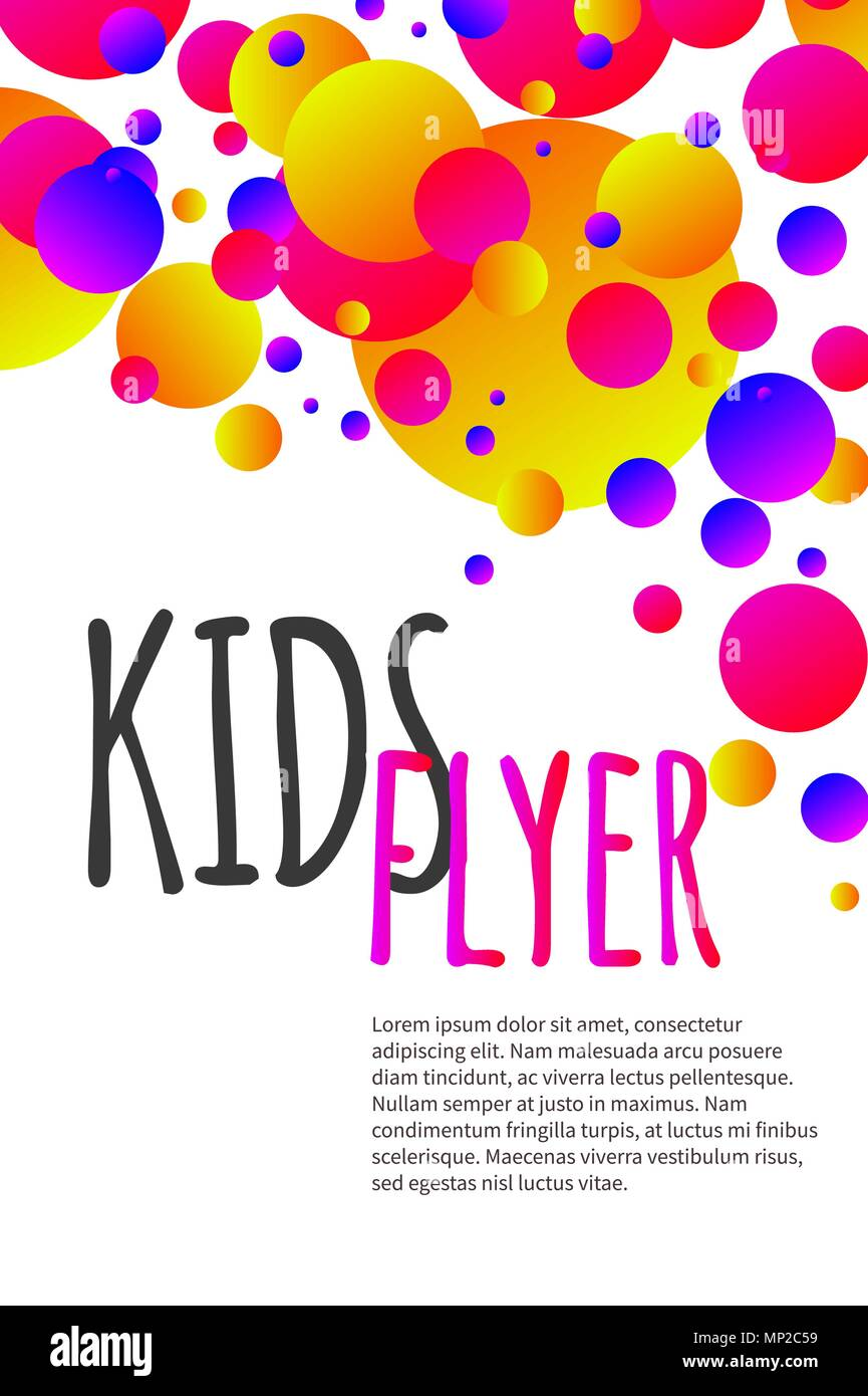 Kids bright flyer with confetti abstract summer banner poster kids bright flyer with confetti abstract summer banner poster template background for birthday invitation vector stock stopboris Images