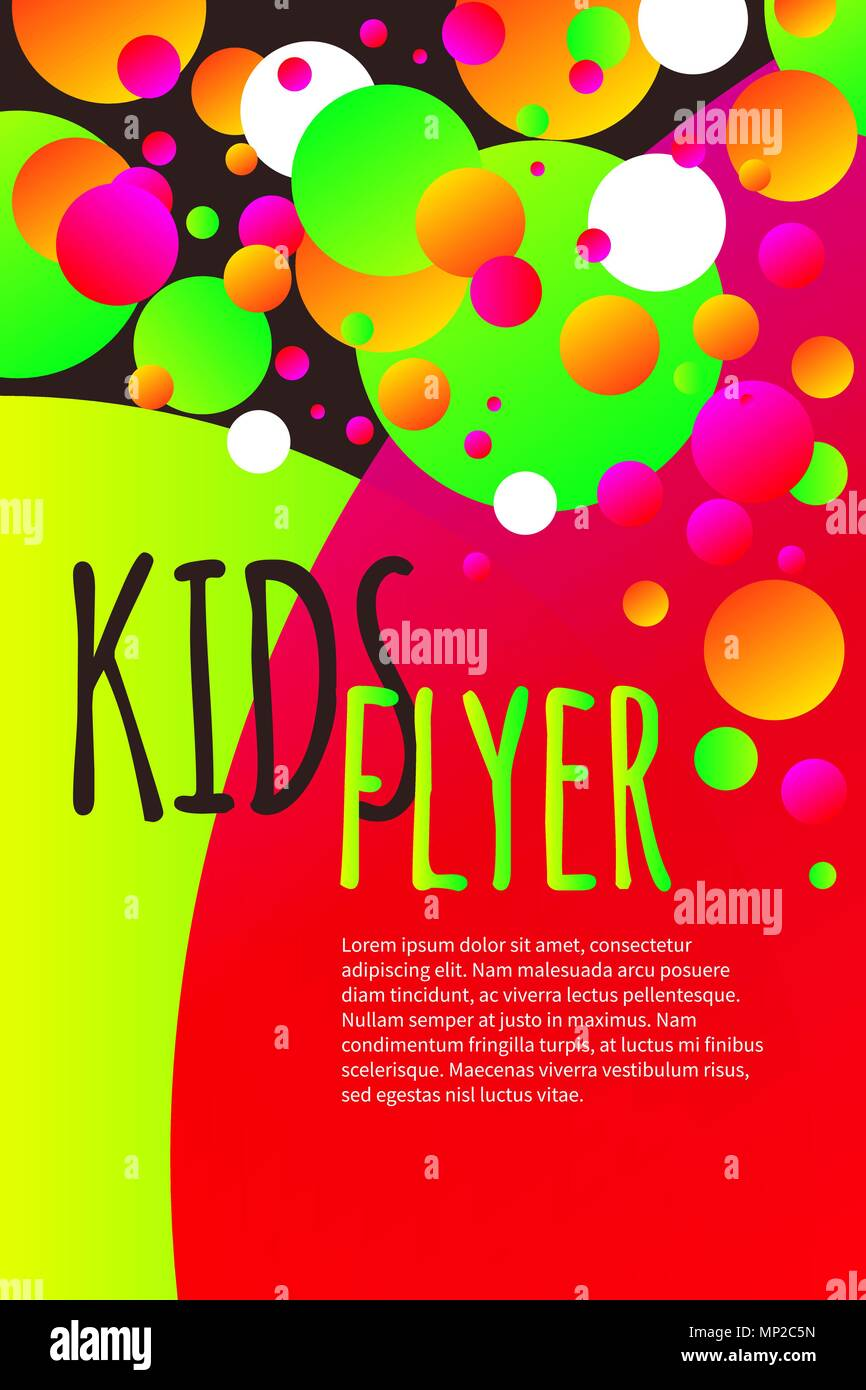 Kids bright flyer with confetti, abstract summer banner, poster ...