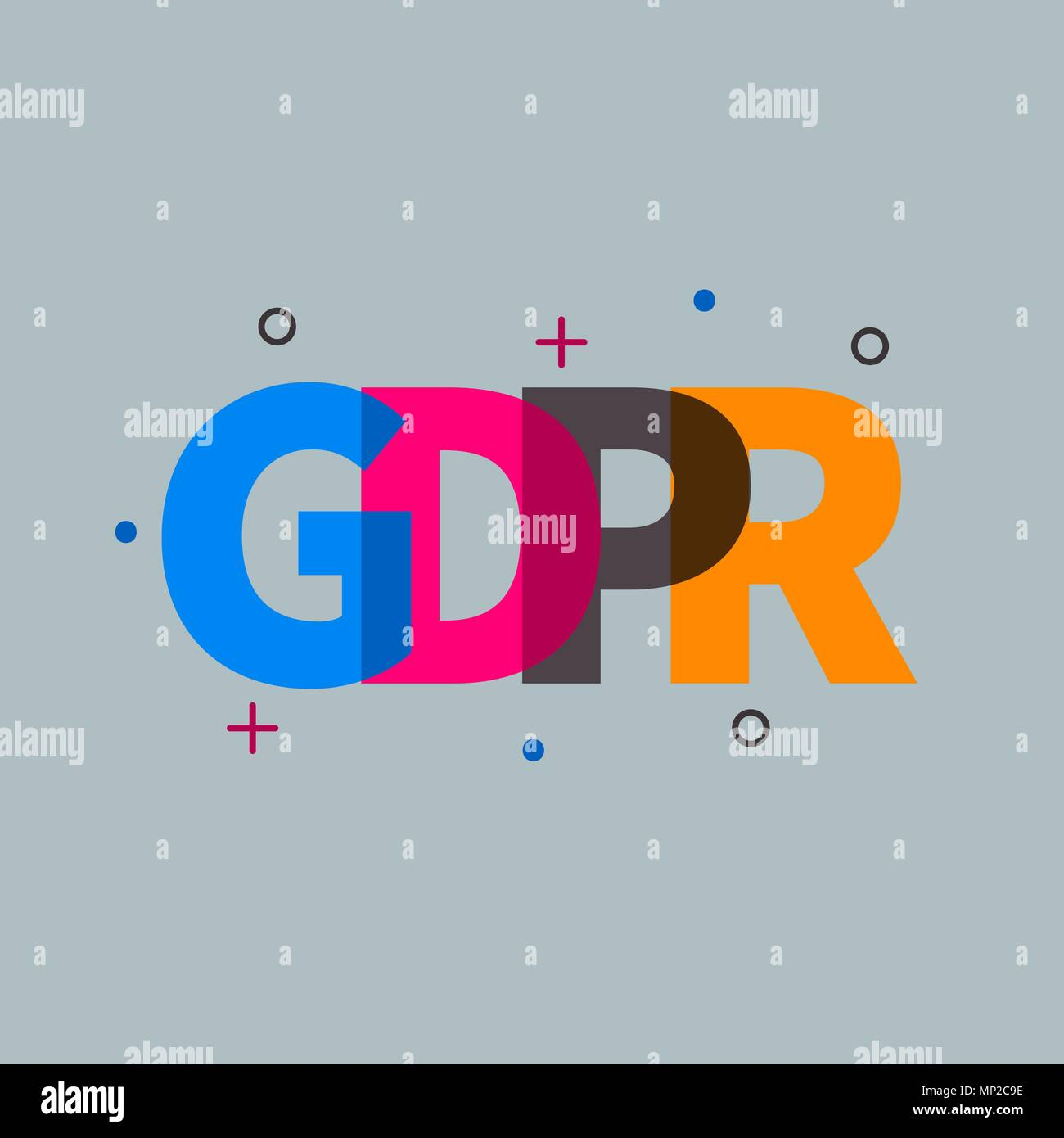 GDPR icon, lettering - Stock Image