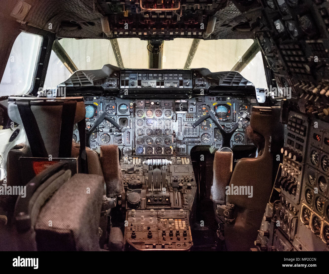 Cockpit Interior Of British Airways Concorde On Display In Hanger At  National Museum Of Flight At