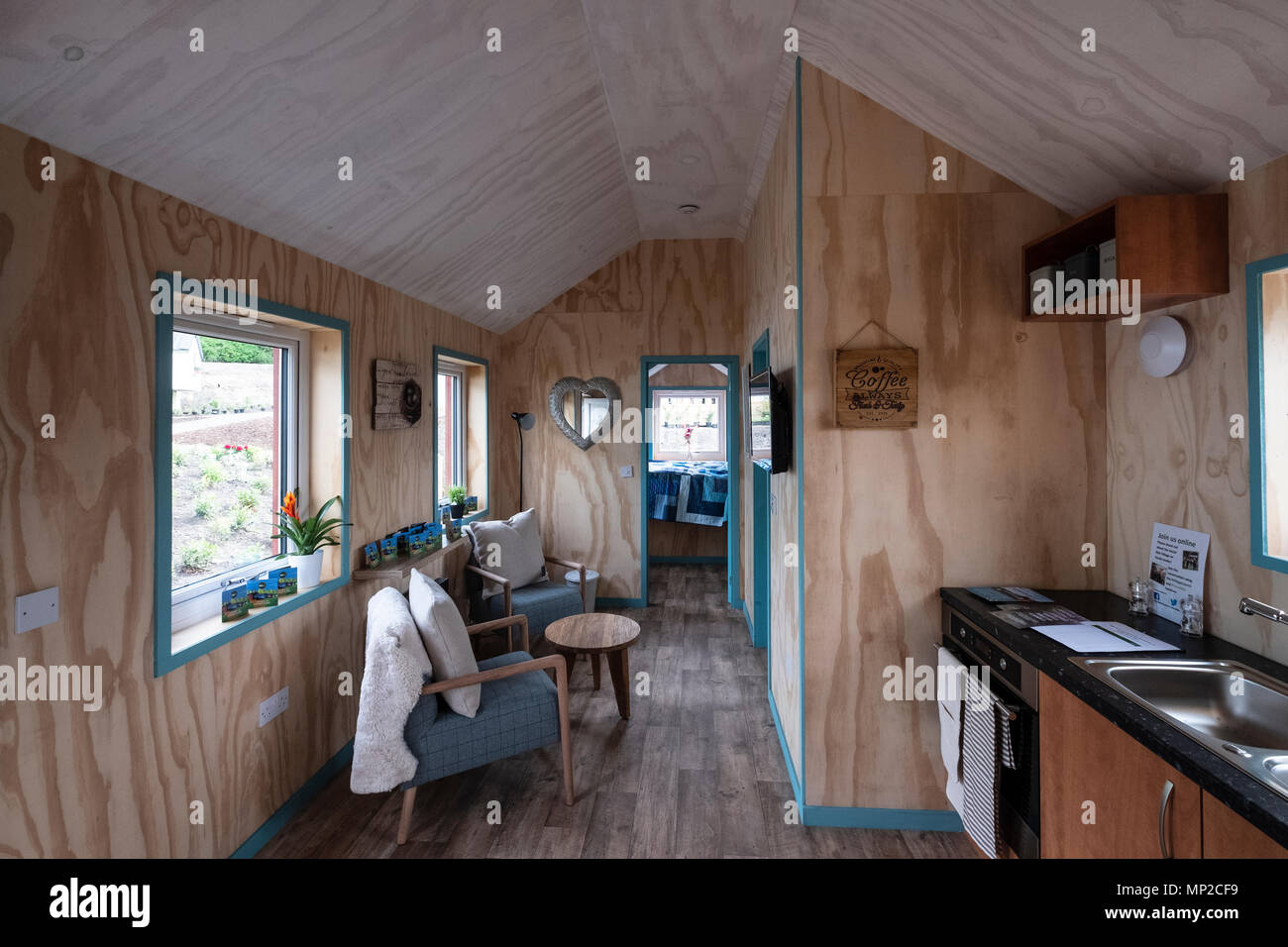 View of interior of houses at the Social Bite Village in Granton built by Social Bite organisation for homeless people, Edinburgh, Scotland, UK - Stock Image