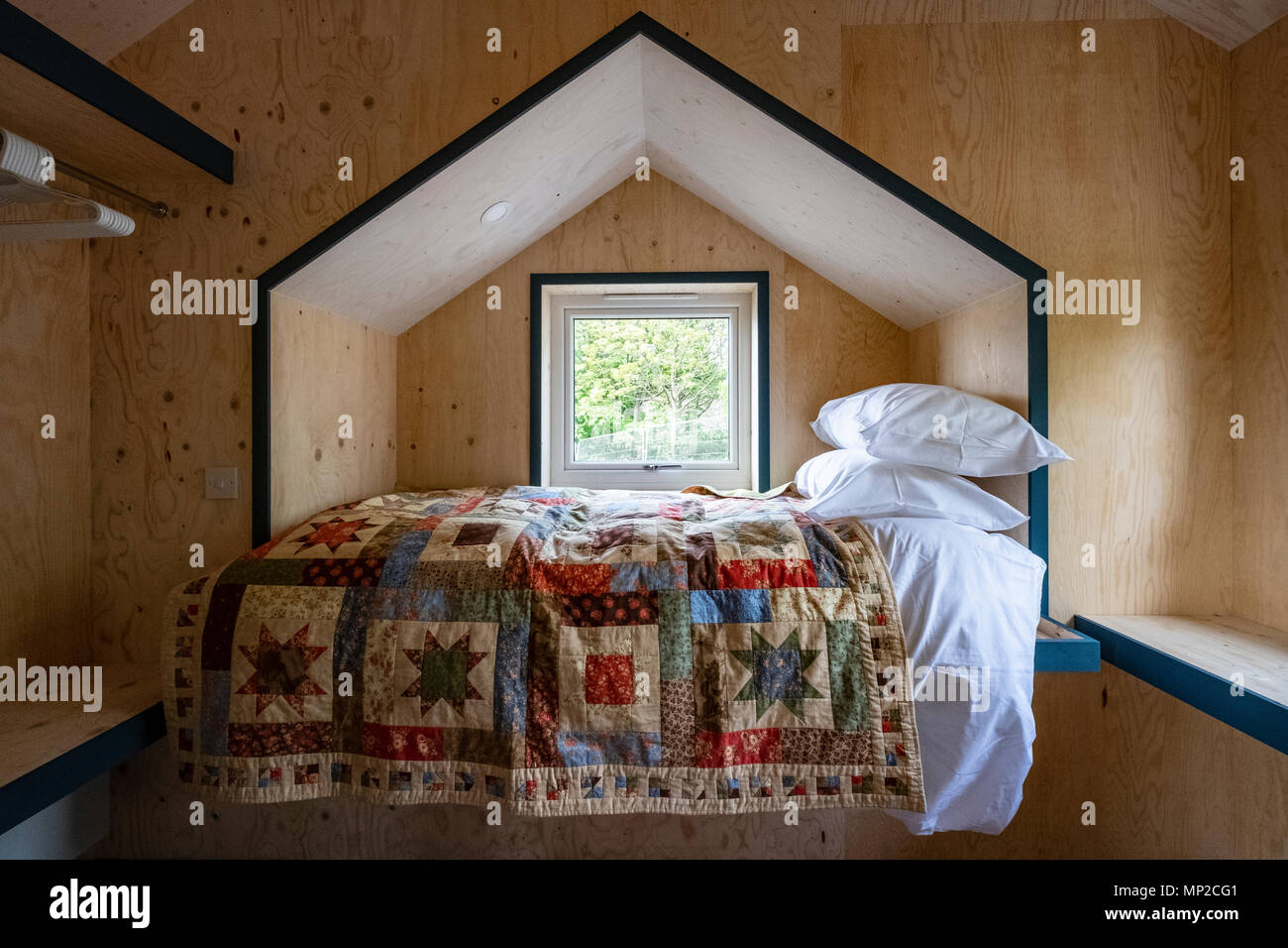 View of bedroom at the Social Bite Village in Granton built by Social Bite organisation for homeless people, Edinburgh, Scotland, United Kin - Stock Image