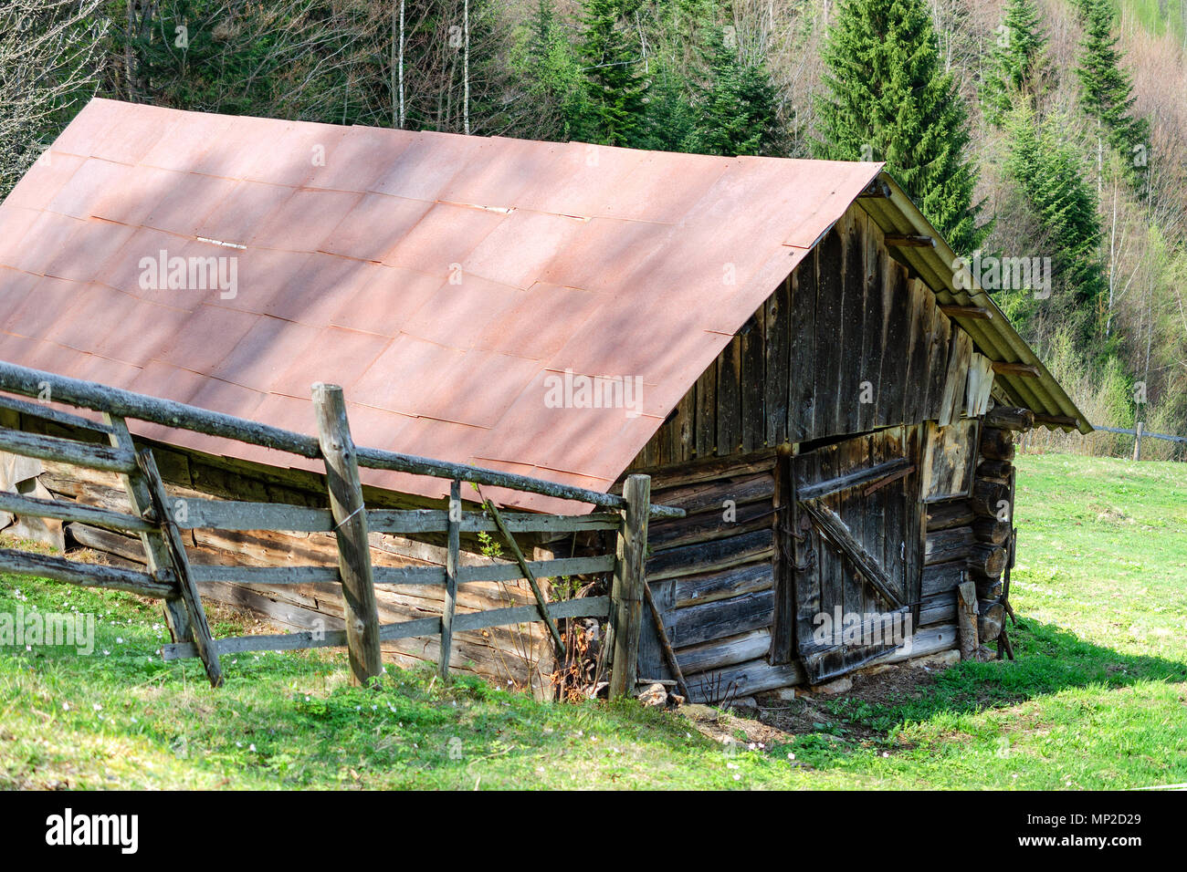 Old-fashioned wooden barn on the outskirts of the forest. Among the Carpathian mountains in Ukraine. Outdoors. Close-up. Stock Photo