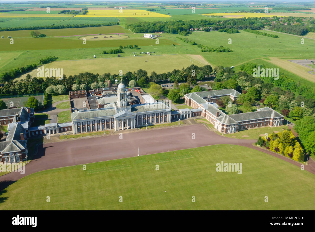 College Hall Officers Mess, CHOM, RAFC Cranwell from above. Sleaford, Lincolnshire, England. - Stock Image