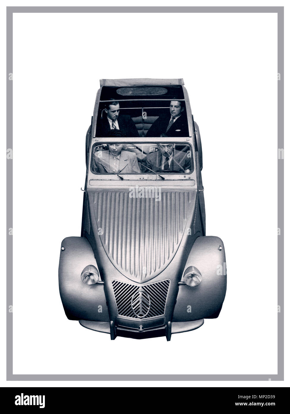 VINTAGE FRENCH AUTOMOBILE 1950's Citroën 2CV deux chevaux 1959 typical notable family French car on white background for French press advertising - Stock Image