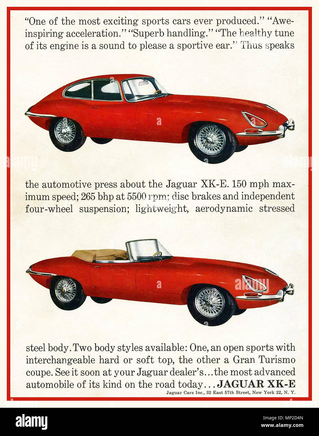 1961 Jaguar XKE - (E-Type Jaguar in the UK) Promotional Advertising Poster in the USA Open top Sports Style or Gran Turismo Coupe - Stock Image