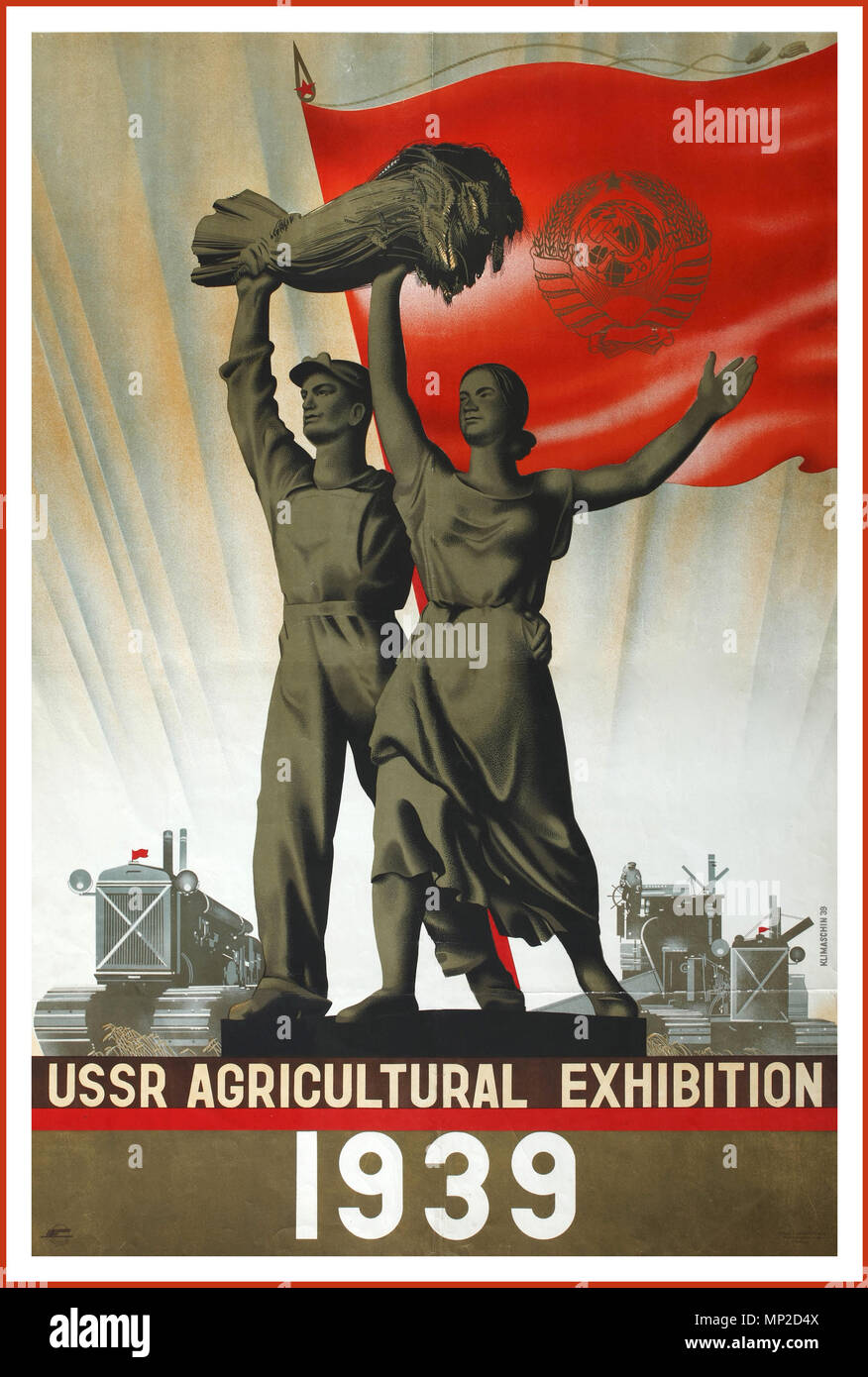 1939 Vintage Ussr Propaganda Intourist Graphic Industry Travel Poster Promoting 1939 Union Agricultural Exhibition Russian Male