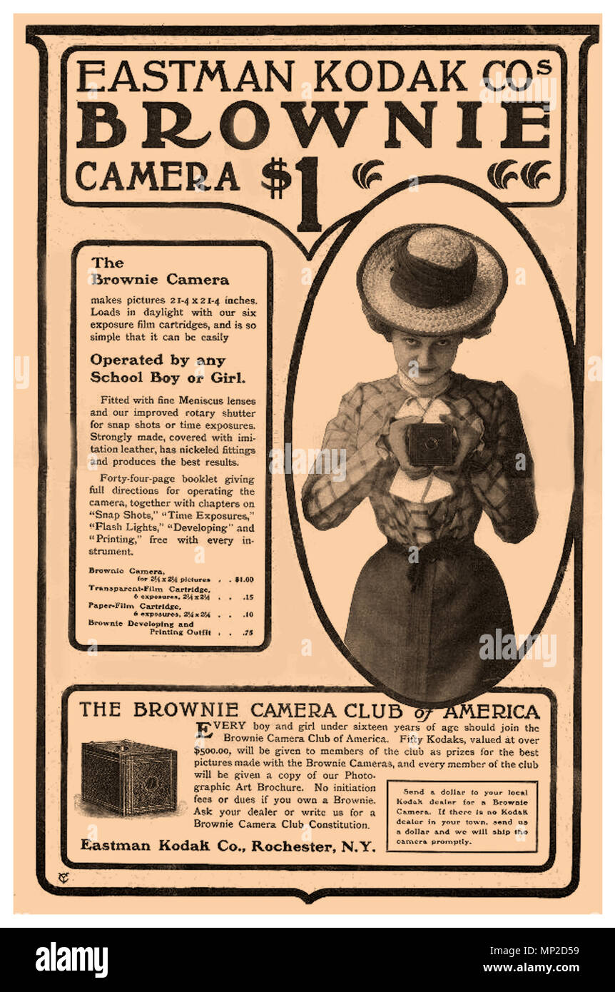 "1900's Vintage Press Ad for Eastman Kodak Company 'The Kodak Brownie camera'. It featured a simple ""meniscus"" lens that took 2¼-inch square pictures on 117 roll film. It sold for only $1. It was easy to operate too. To take a picture you held the camera at waist height, aimed at your subject, and turned a switch. The film was affordable for consumers and profitable for Kodak. For 15 cents, a $1 Brownie camera owner could buy a six-exposure film cartridge that could be loaded in daylight and processed by Eastman Kodak Company In 1900 Eastman Kodak Company sold over 250000 Brownie cameras - Stock Image"