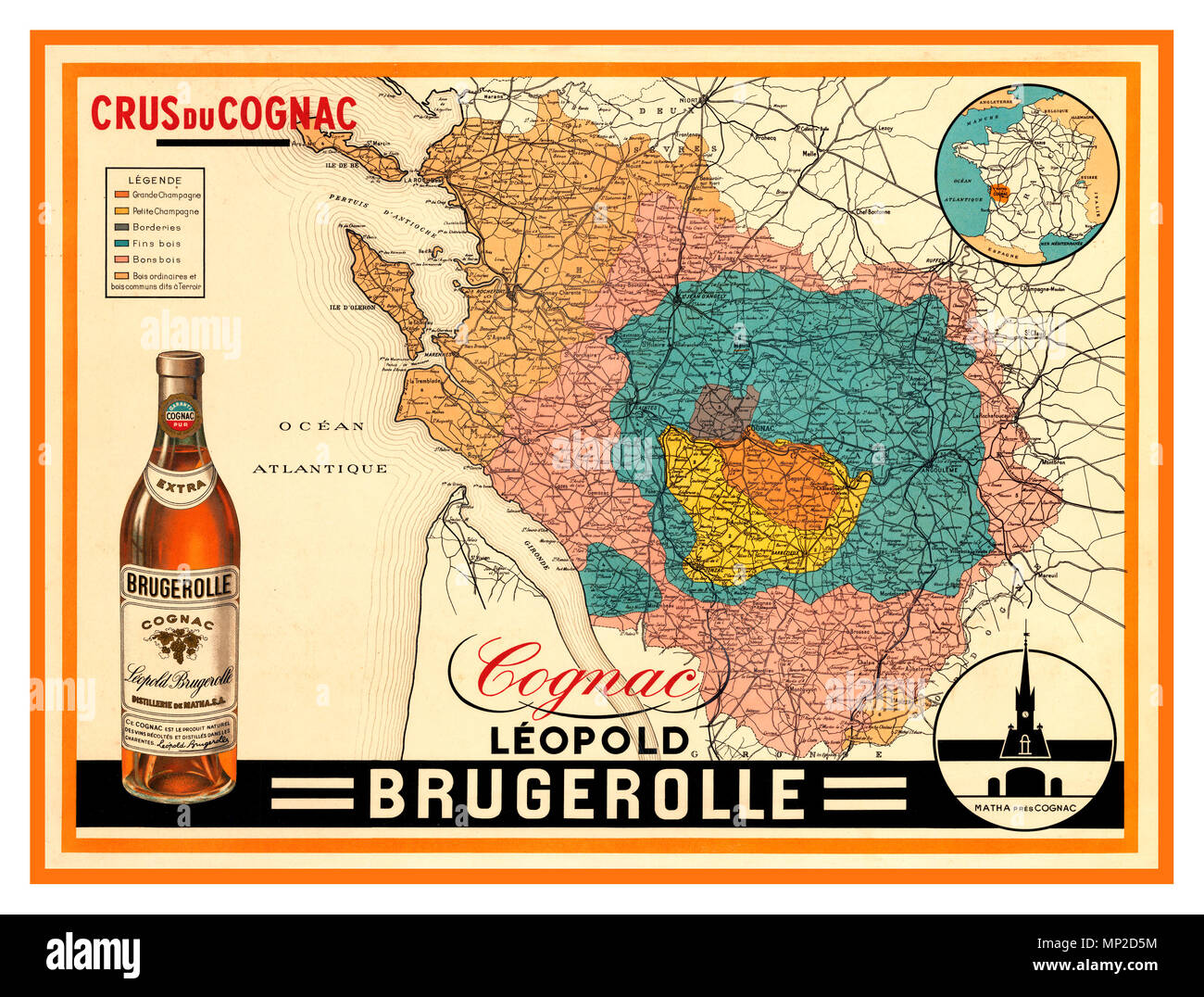 Map Of France Poster.Vintage 1920 S French Crus Du Cognac Poster Map Produced In Part By
