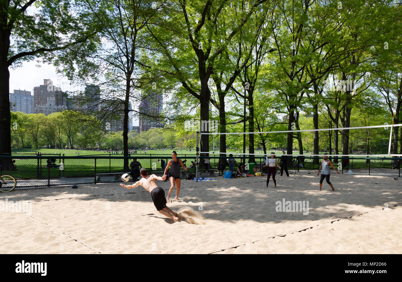 People playing volleyball in Central Park, New York city, USA Stock Photo