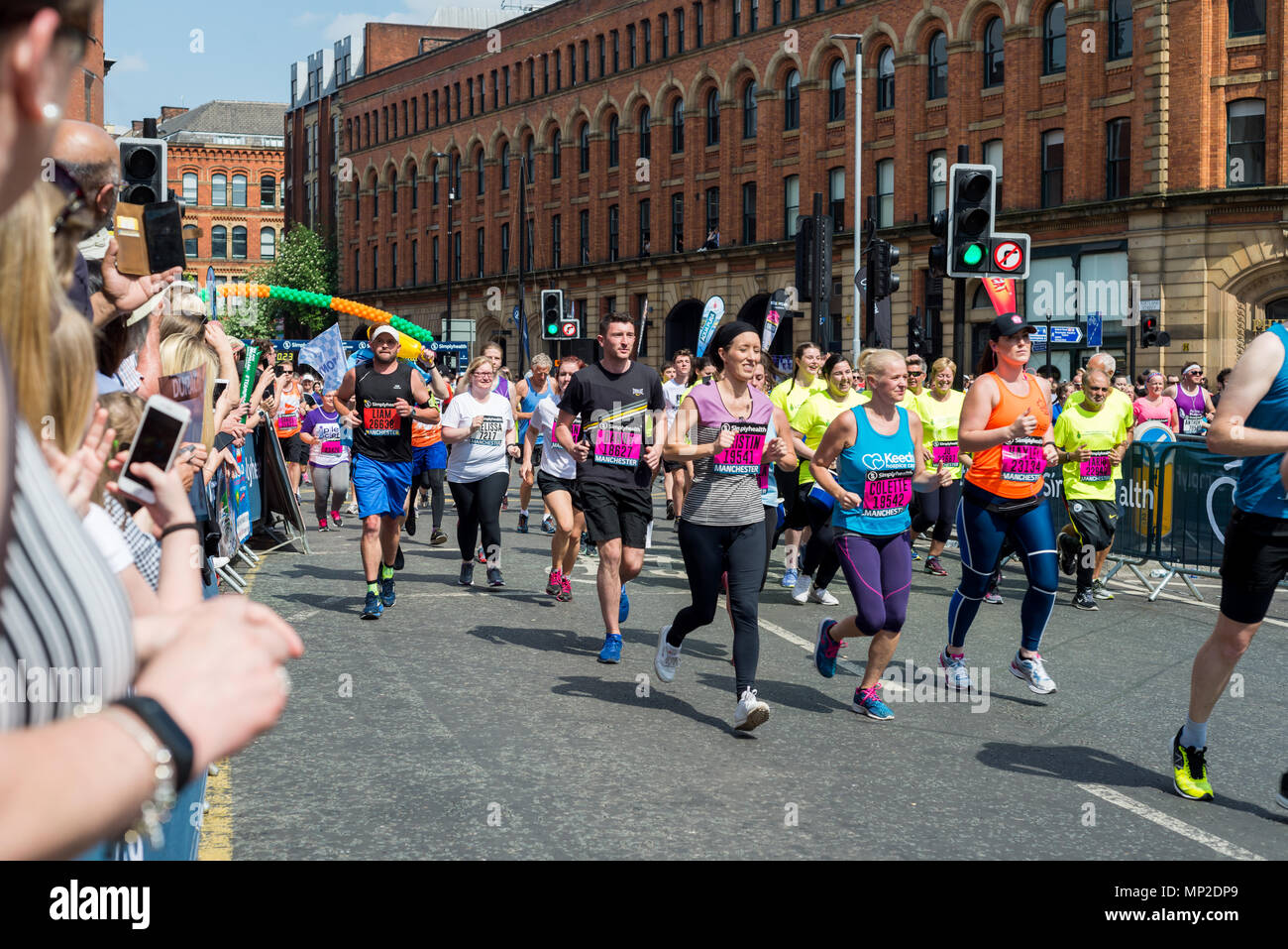 MANCHESTER, ENGLAND - 20 MAY, 2018: RUN for Manchester MARATHON in England UK - Stock Image