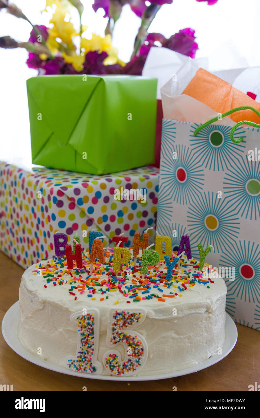 Bright Colorful Rainbow Decorated Gifts And Cake For 15th Birthday