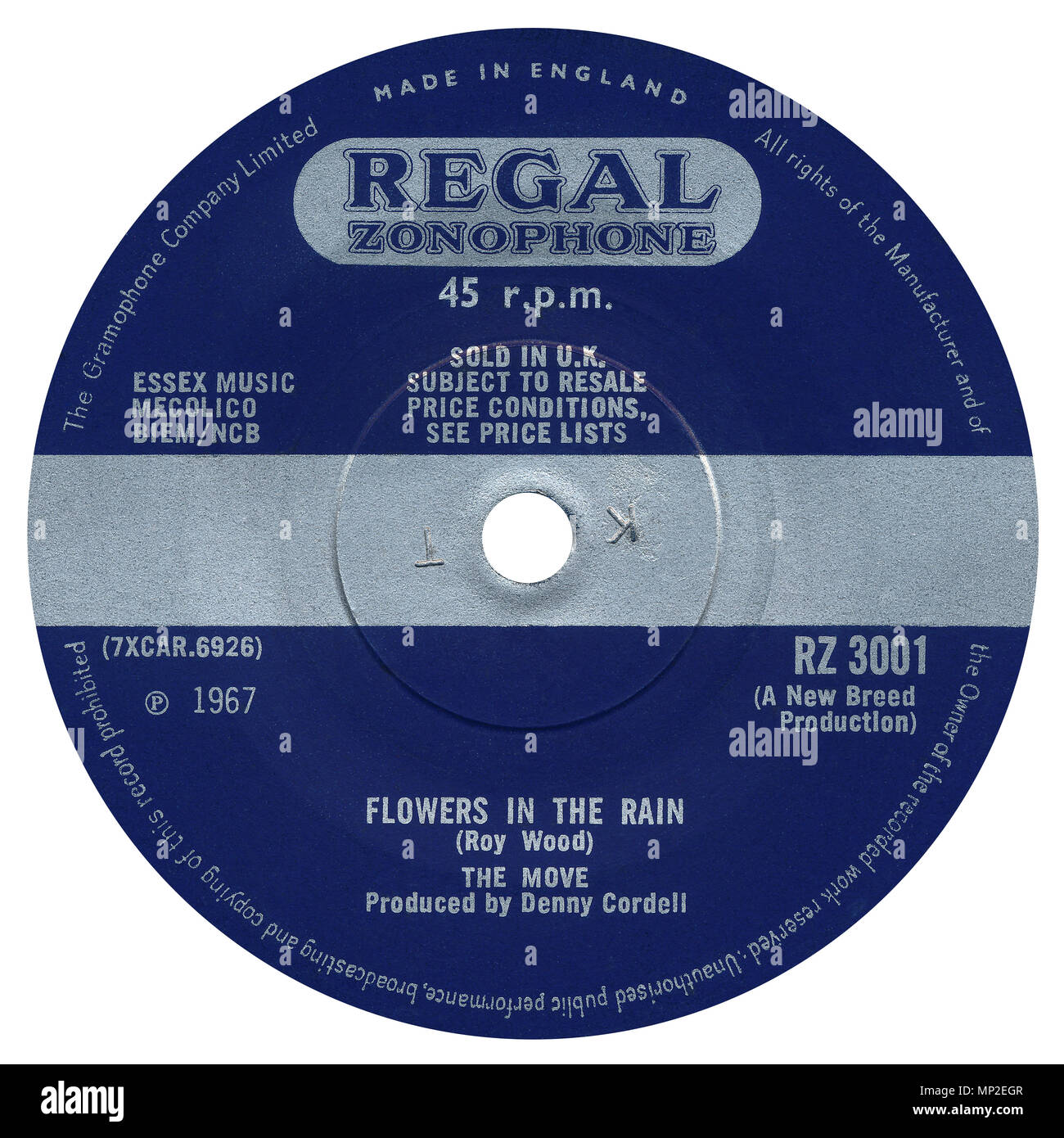 45 RPM record label of Flowers In The Rain by The Move on the Regal Zonophone label from 1967. Written by Roy Wood and produced by Denny Cordell. - Stock Image