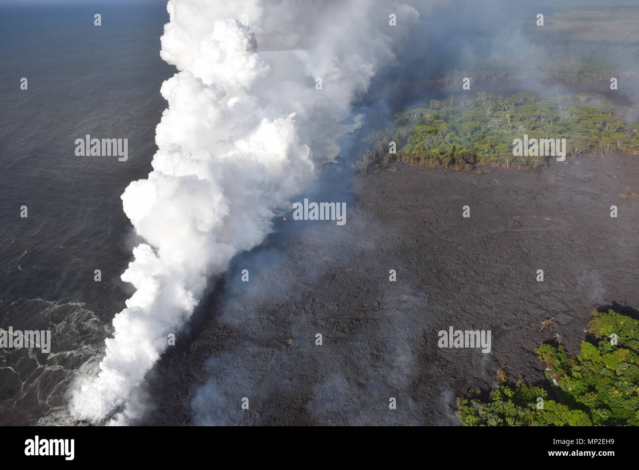 Lava and poisonous sulfur dioxide plumes rise from fissure 20 as the molten magma reaches the ocean from the eruption of the Kilauea volcano May 20, 2018 in Pahoa, Hawaii. Hot lava entering the ocean creates a dense white plume called 'laze' (short for 'lava haze'). Laze is formed as hot lava boils seawater to dryness. The process leads to a series of chemical reactions that create a billowing white cloud composed of a condensed seawater steam, hydrochloric acid gas, and tiny shards of volcanic glass. The cloud is as corrosive as dilute battery acid, and should be avoided. - Stock Image