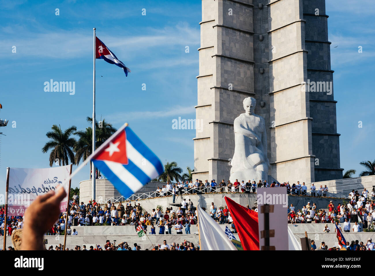 Havana, Cuba. May 1st 2018 Cubans marching in the celebration for International Worker's Day passing by the monument to Jose Marti.  Caleb Hughes/Alamy Live News - Stock Image