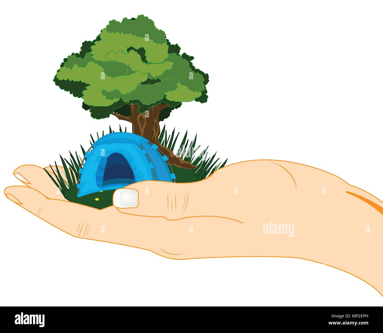 Tree on green glade in palm of the person - Stock Vector
