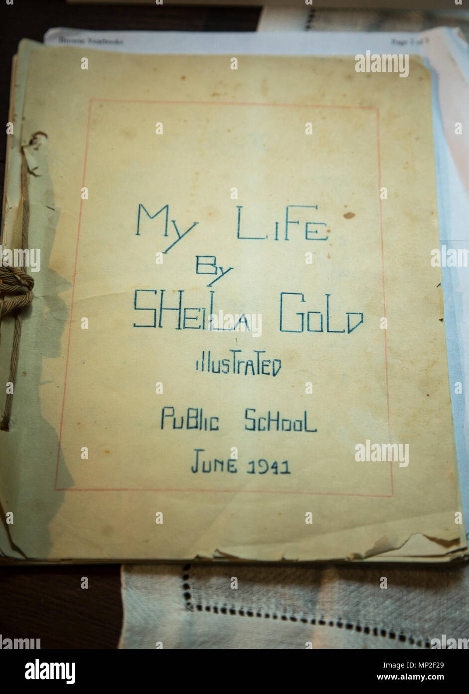 A young girl's journal written in 1941 on display at at the Hopper-Goetschius Museum in New Jersey. - Stock Image