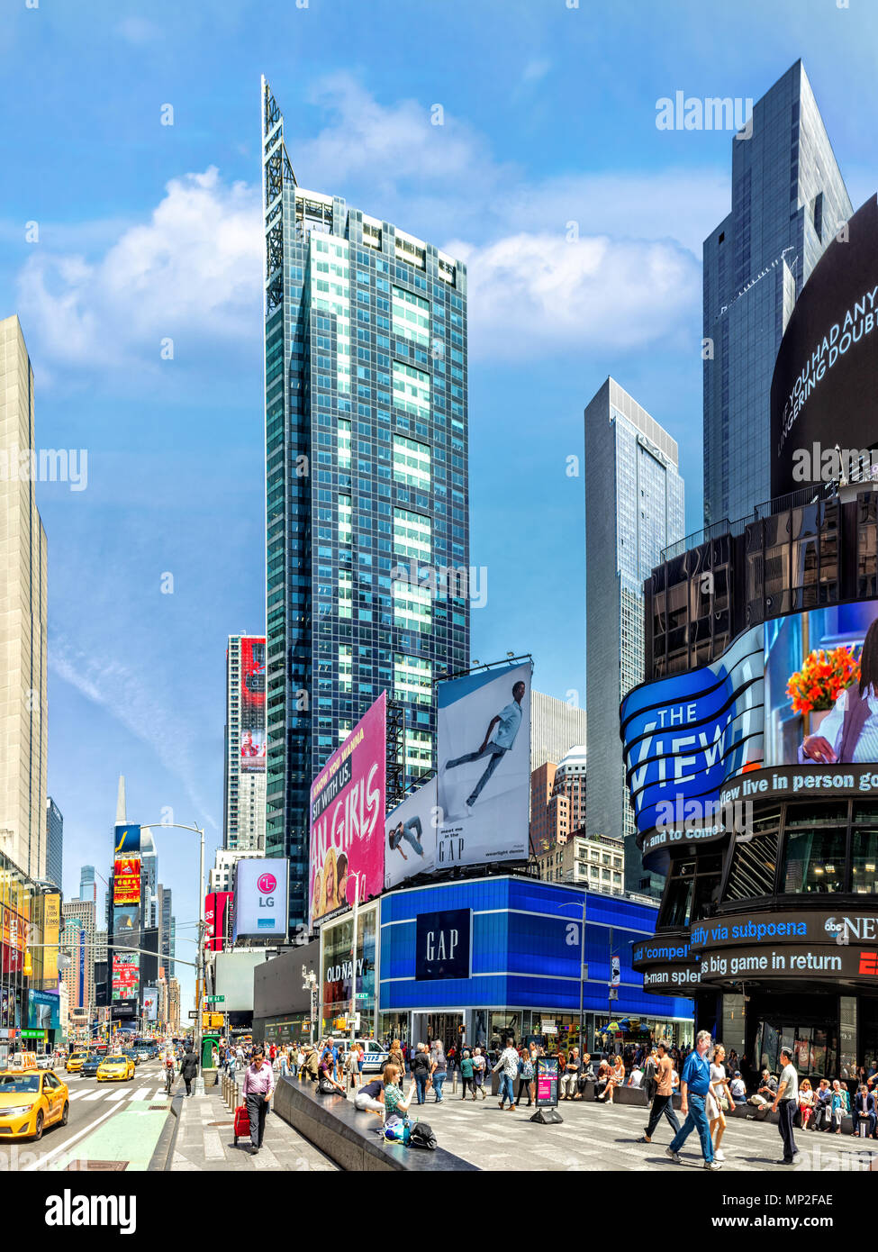 NEW YORK - MAY 2, 2018: Vertical view of Times Square, along the 7th avenue. - Stock Image