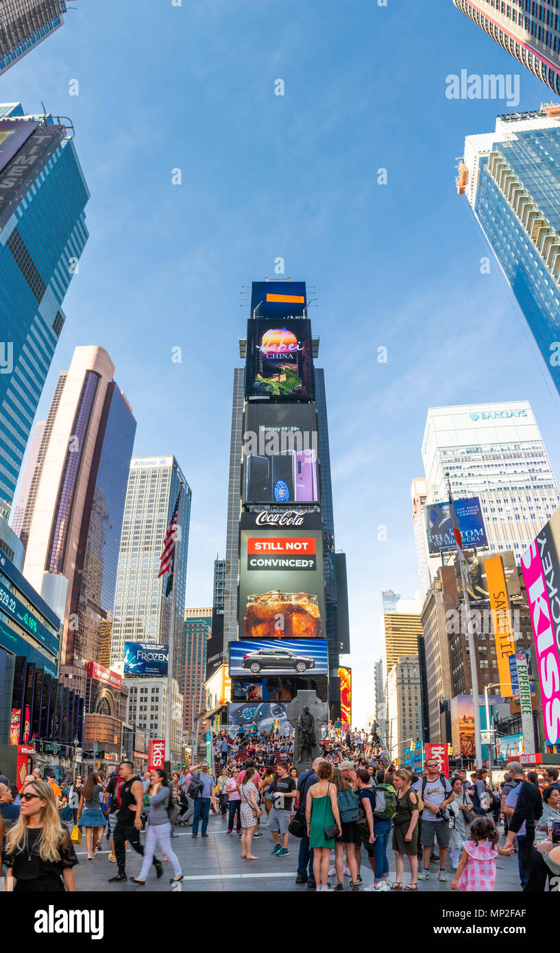 NEW YORK - MAY 2, 2018: Vertical panorama of skyscrapers in Times Square. - Stock Image