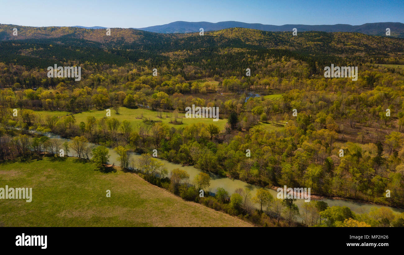 A drone image taken in Arkansas, USA Stock Photo