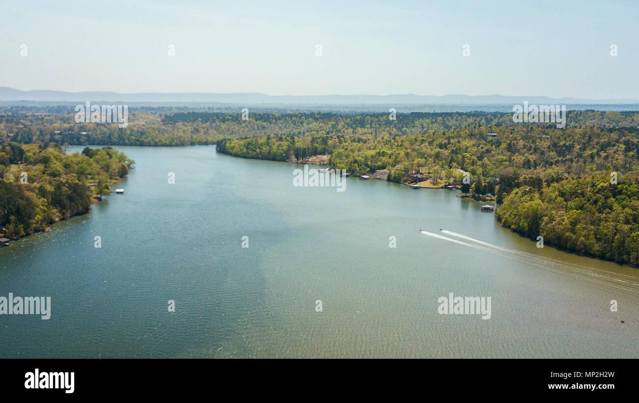A drone image taken in Arkansas, USA Stock Photo