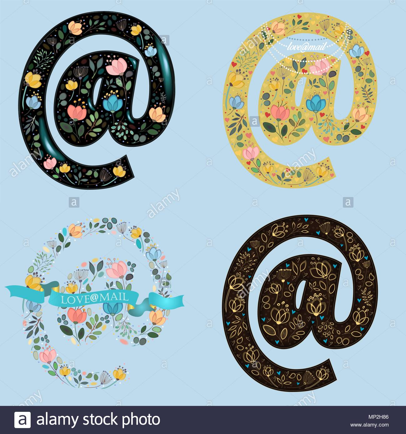 Set Of Floral Symbols At Watercolor Flowers And Plants Yellow