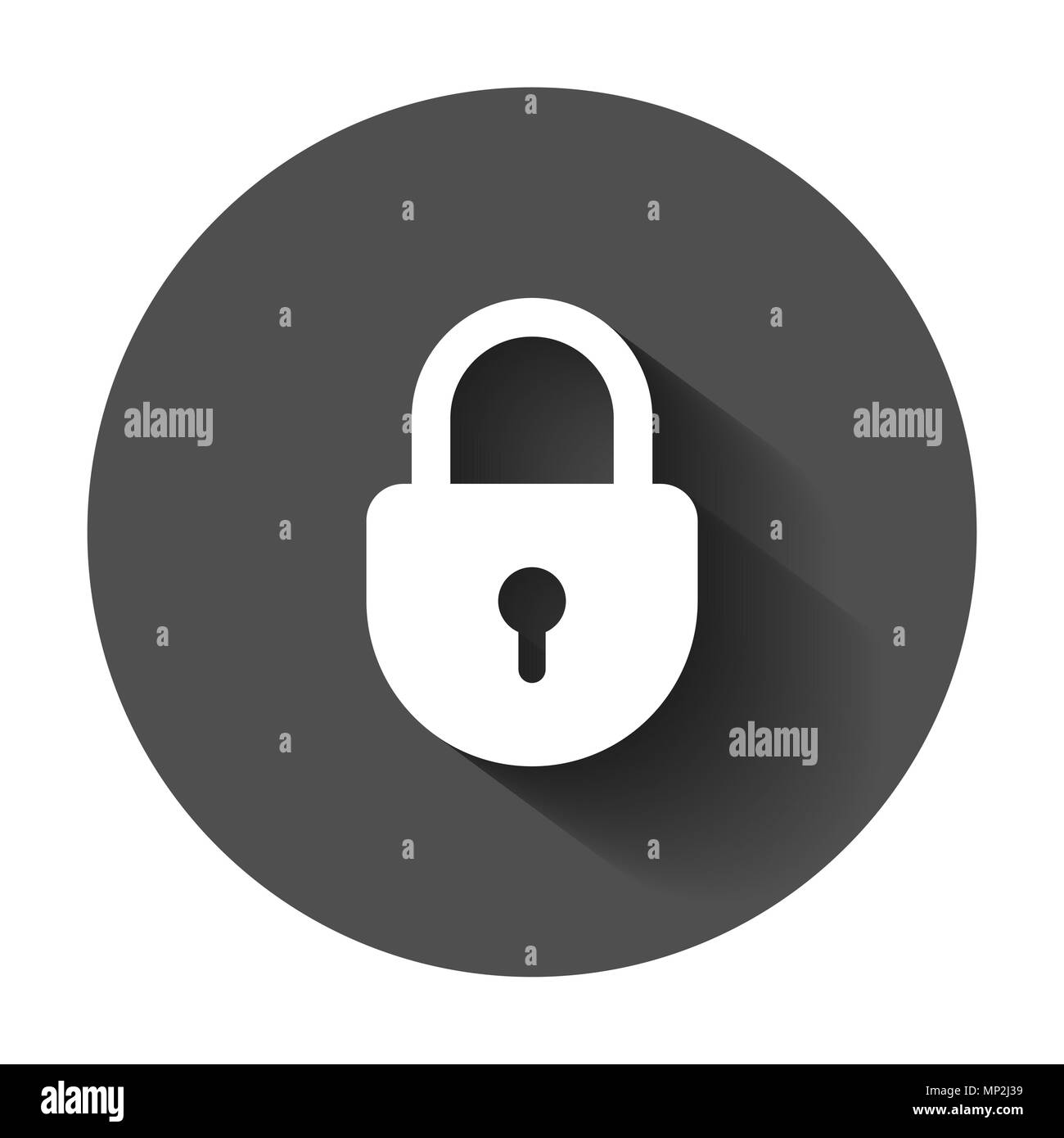 Lock sign vector icon. Padlock locker illustration. Business concept simple flat pictogram with long shadow. - Stock Image