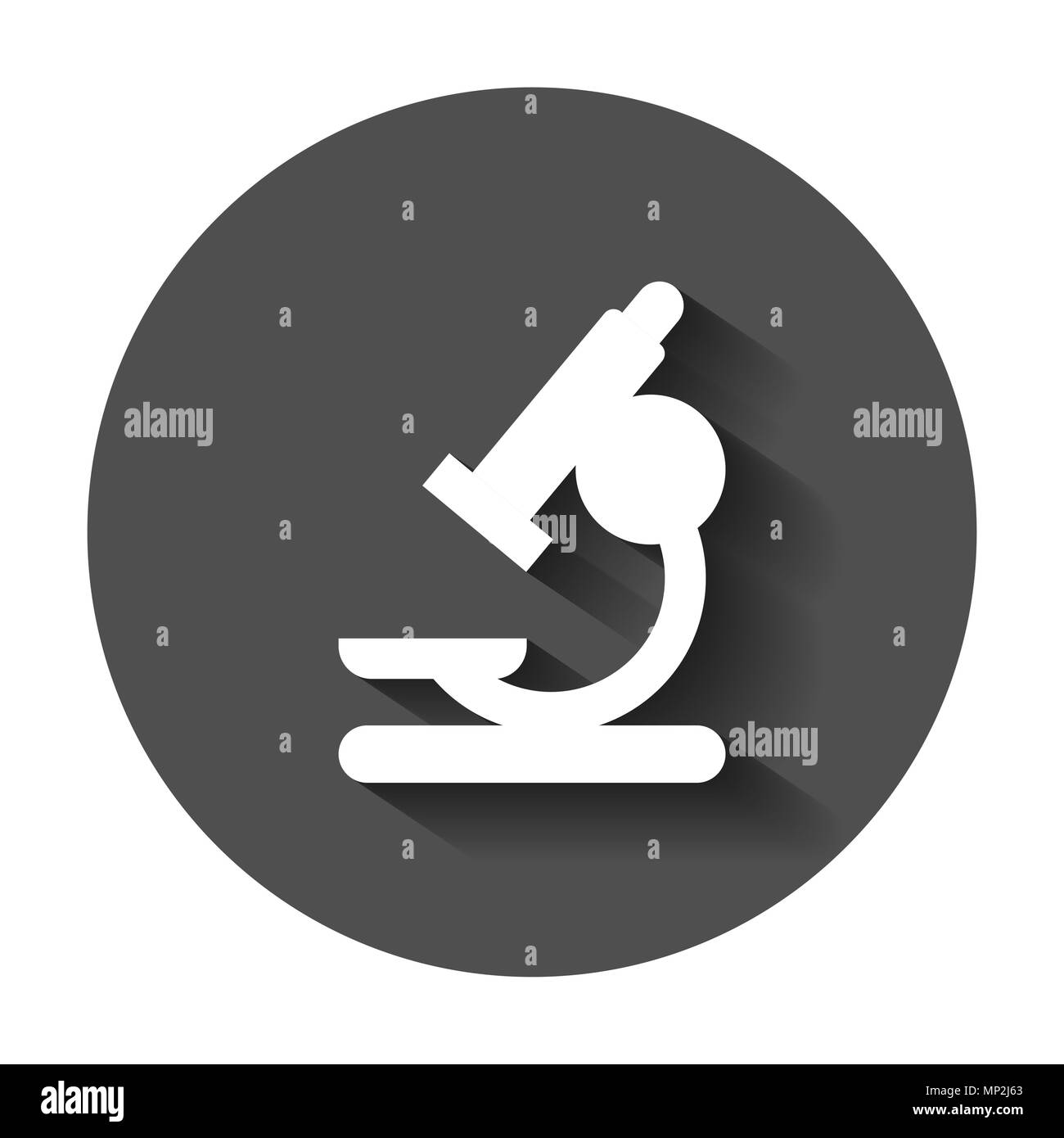 Microscope lab icon. Vector illustration with long shadow. Business concept microscope pictogram. - Stock Image