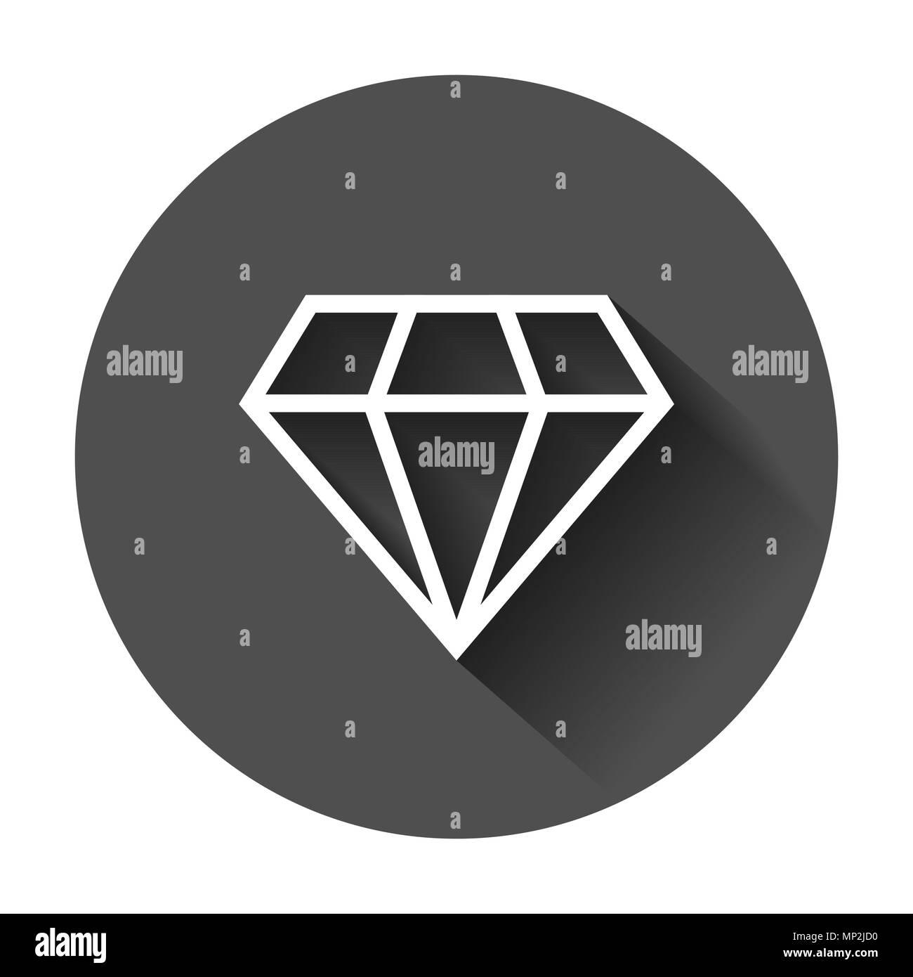 Diamond jewel gem vector icon in flat style. Diamond gemstone illustration with long shadow. Jewelry brilliant concept. - Stock Image