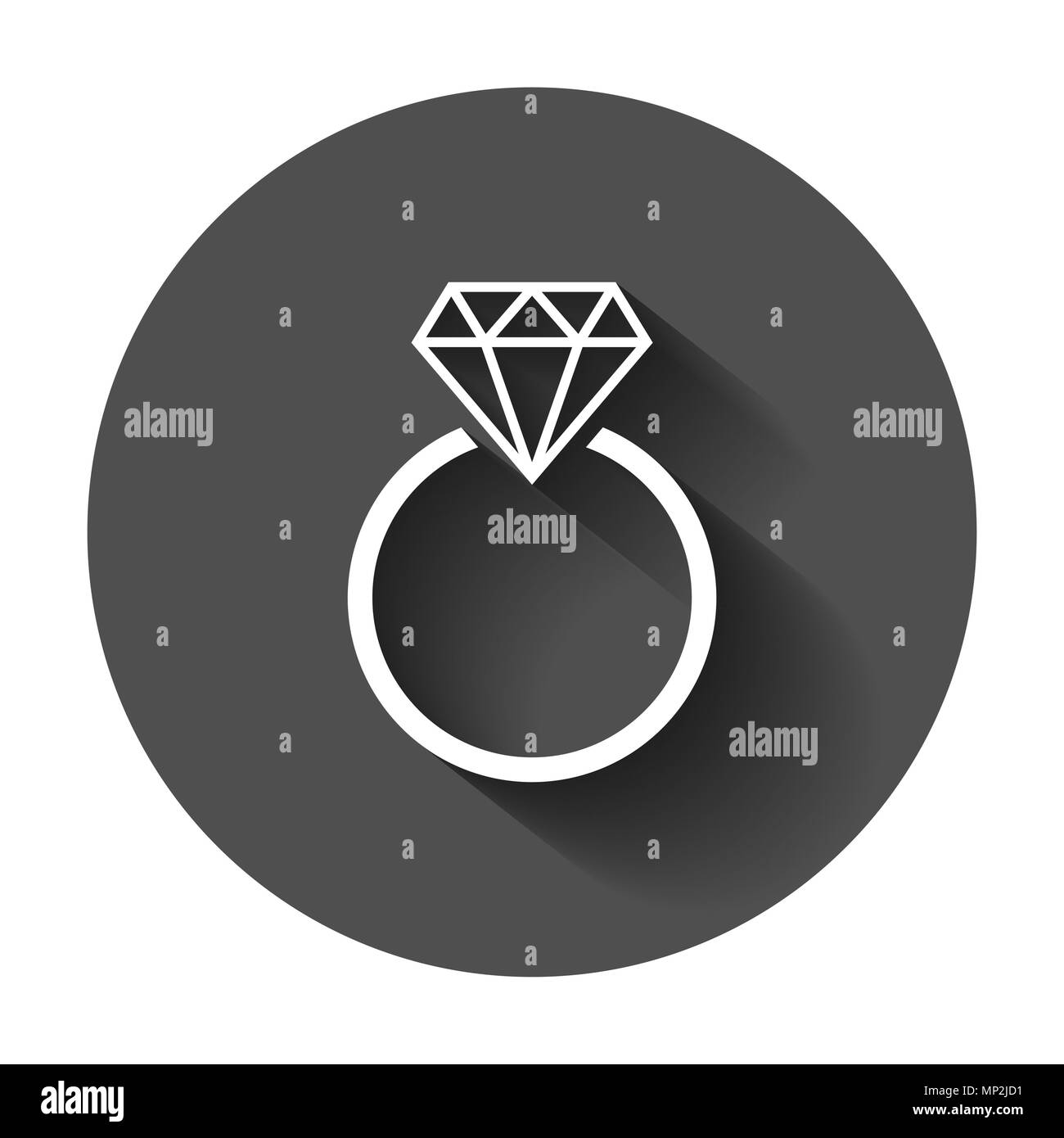 Engagement ring with diamond vector icon in flat style. Wedding jewelery ring illustration with long shadow. Romance relationship concept. - Stock Image